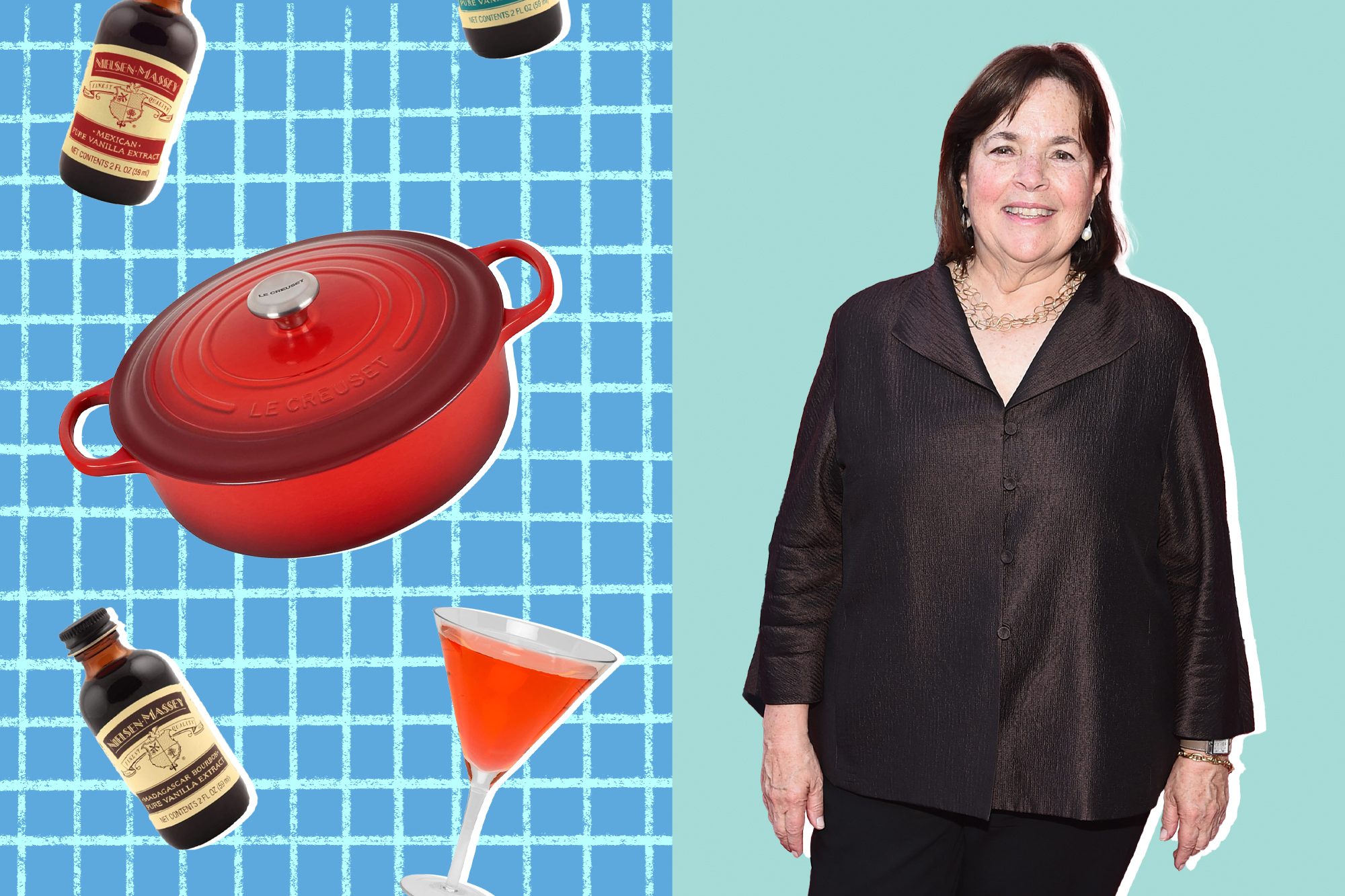 Ina Garten and a selection of mother's day gifts on a designed background