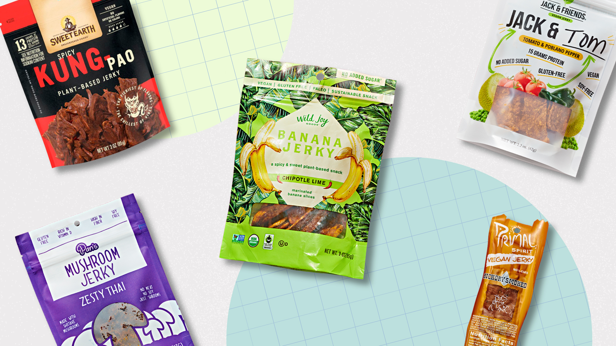 5 plant based Jerky products on a designed background