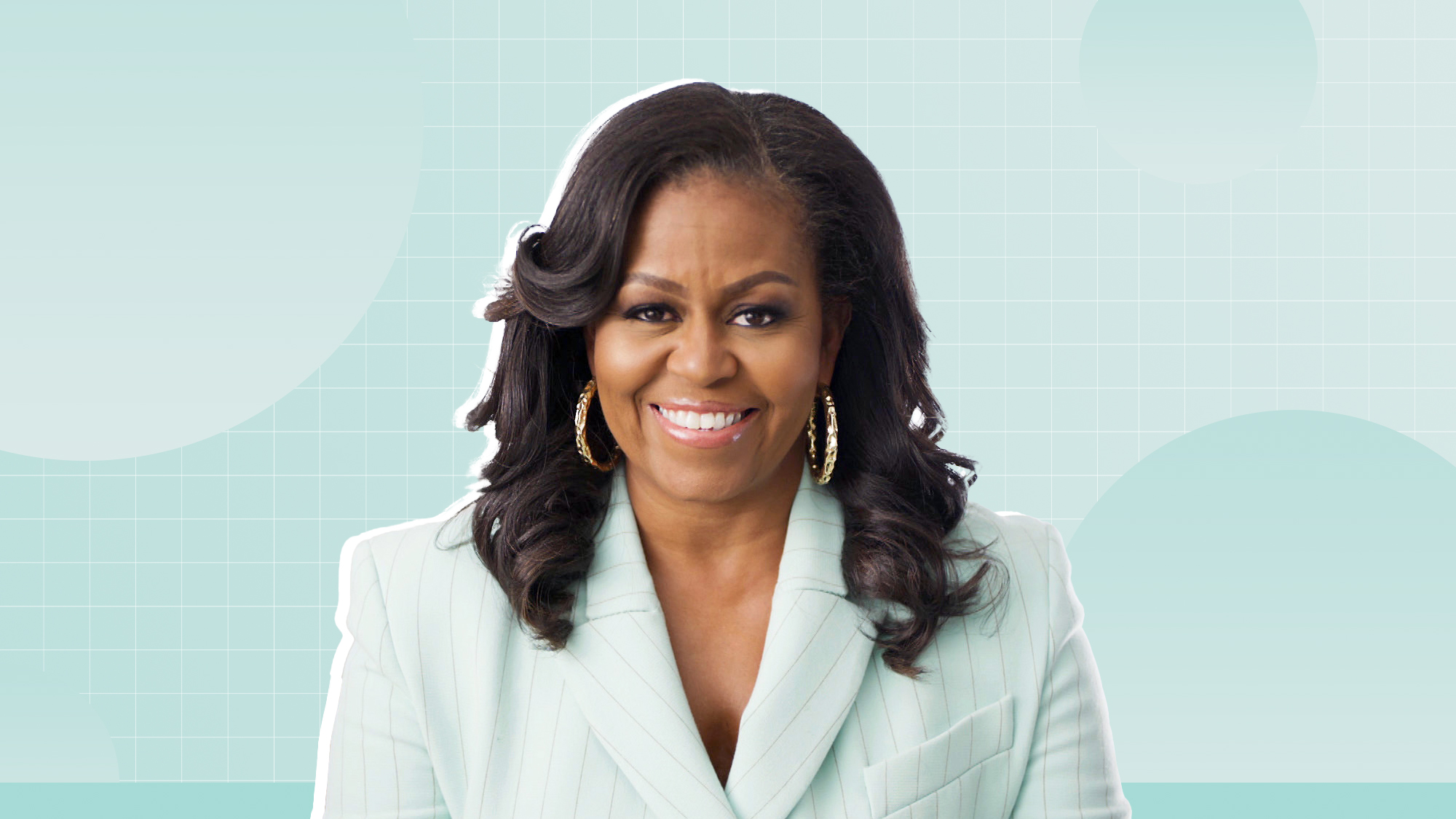 Portrait of Michelle Obama on a designed background