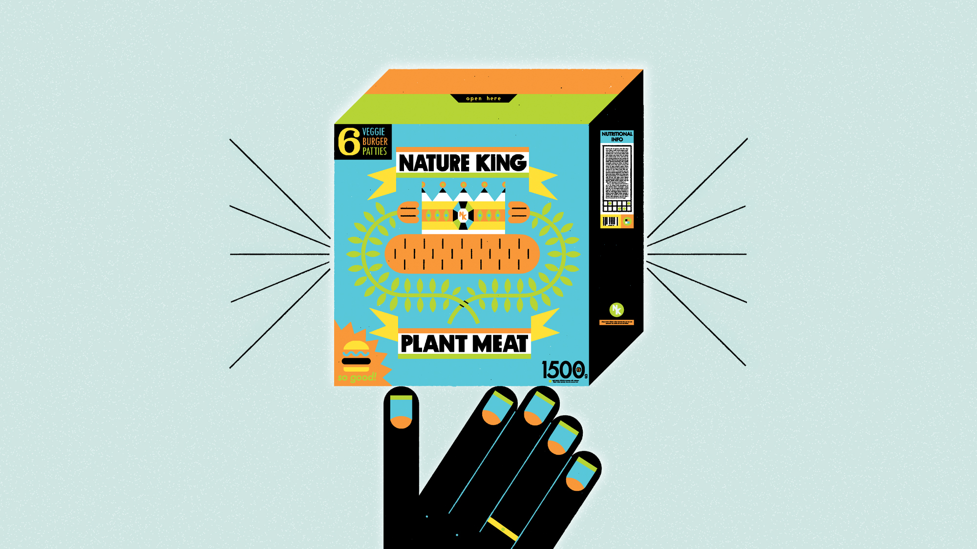 An illustration of a hand holding up a box of veggie burgers