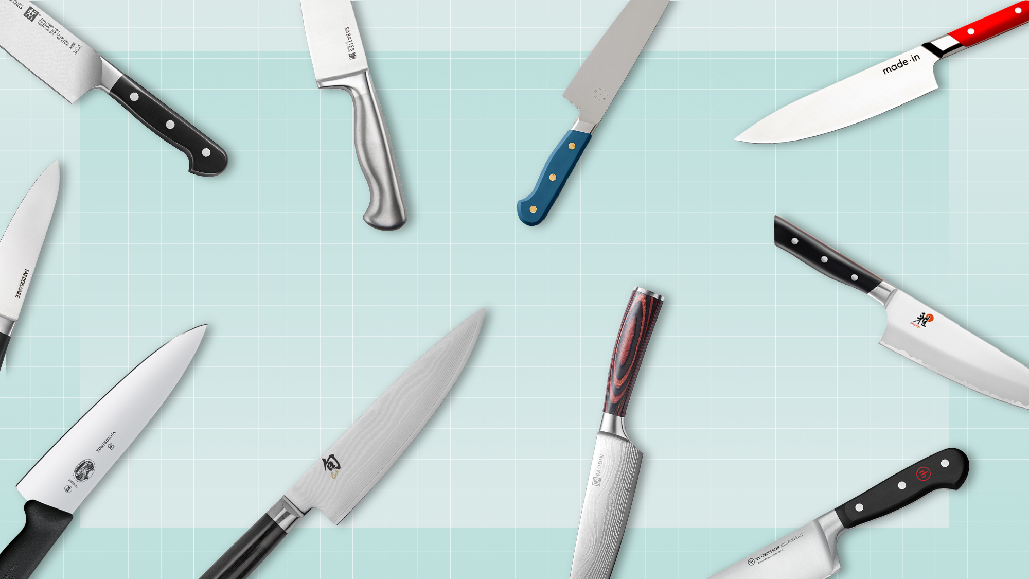 A selection of chef's knives floating on a designed background