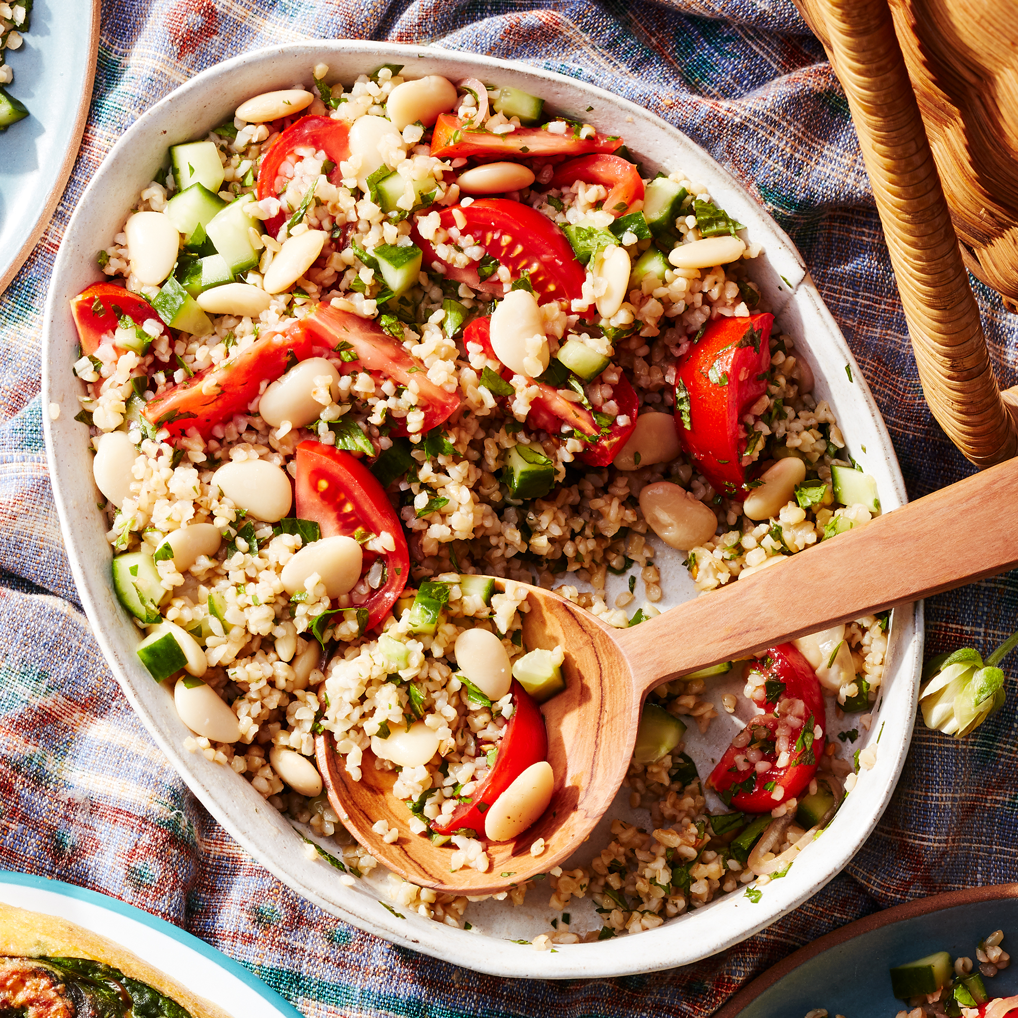 Bulgur & Butter Bean Salad with Pomegranate Molasses Vinaigrette