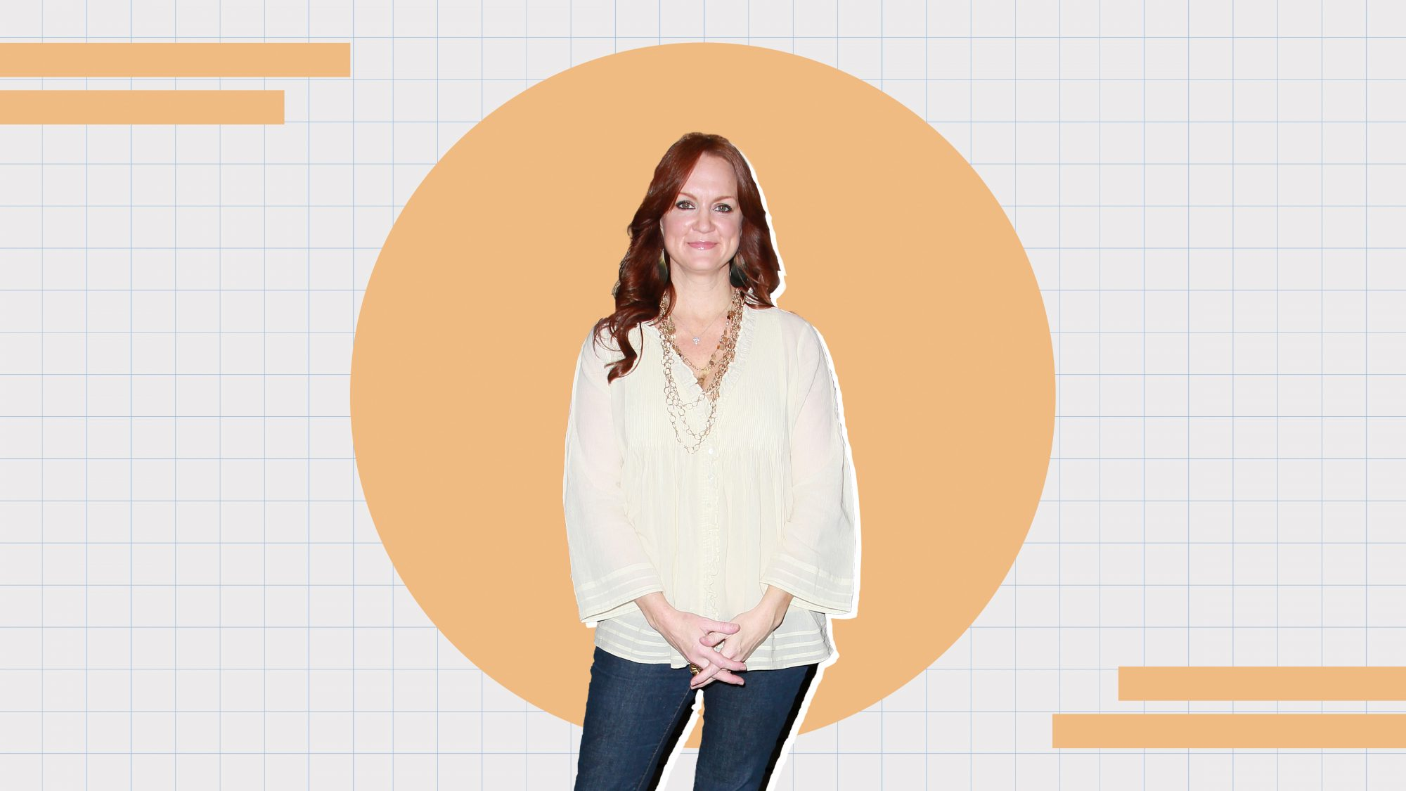 Portrait of Ree Drummond on a designed background