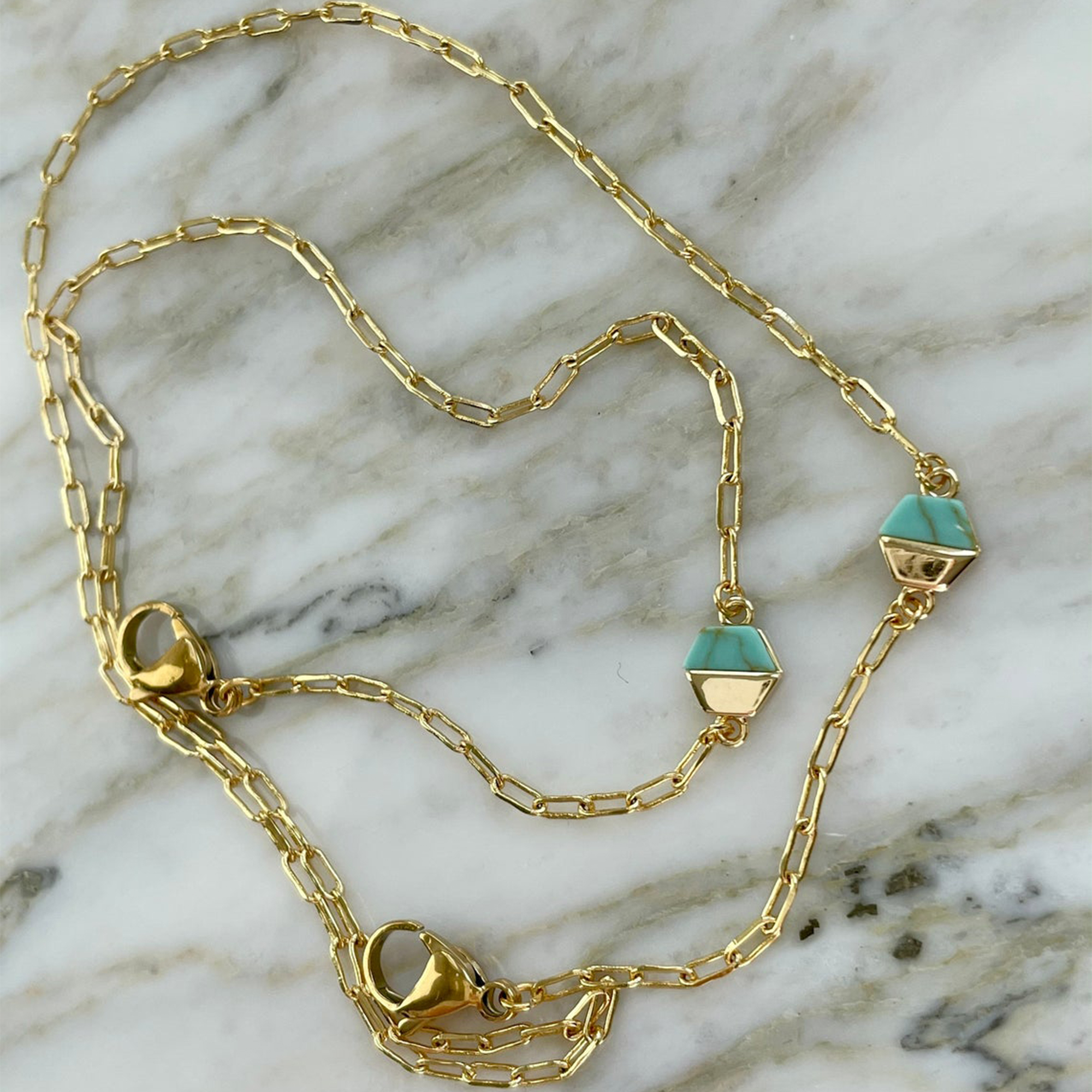 ShopHeartmade - 18k Gold Plated Turquoise Chain Face Mask Lanyard, Mask Necklace, Face Mask Chain, Face Mask Holder, Mask Chain, Mask Lanyard, Mask Strap