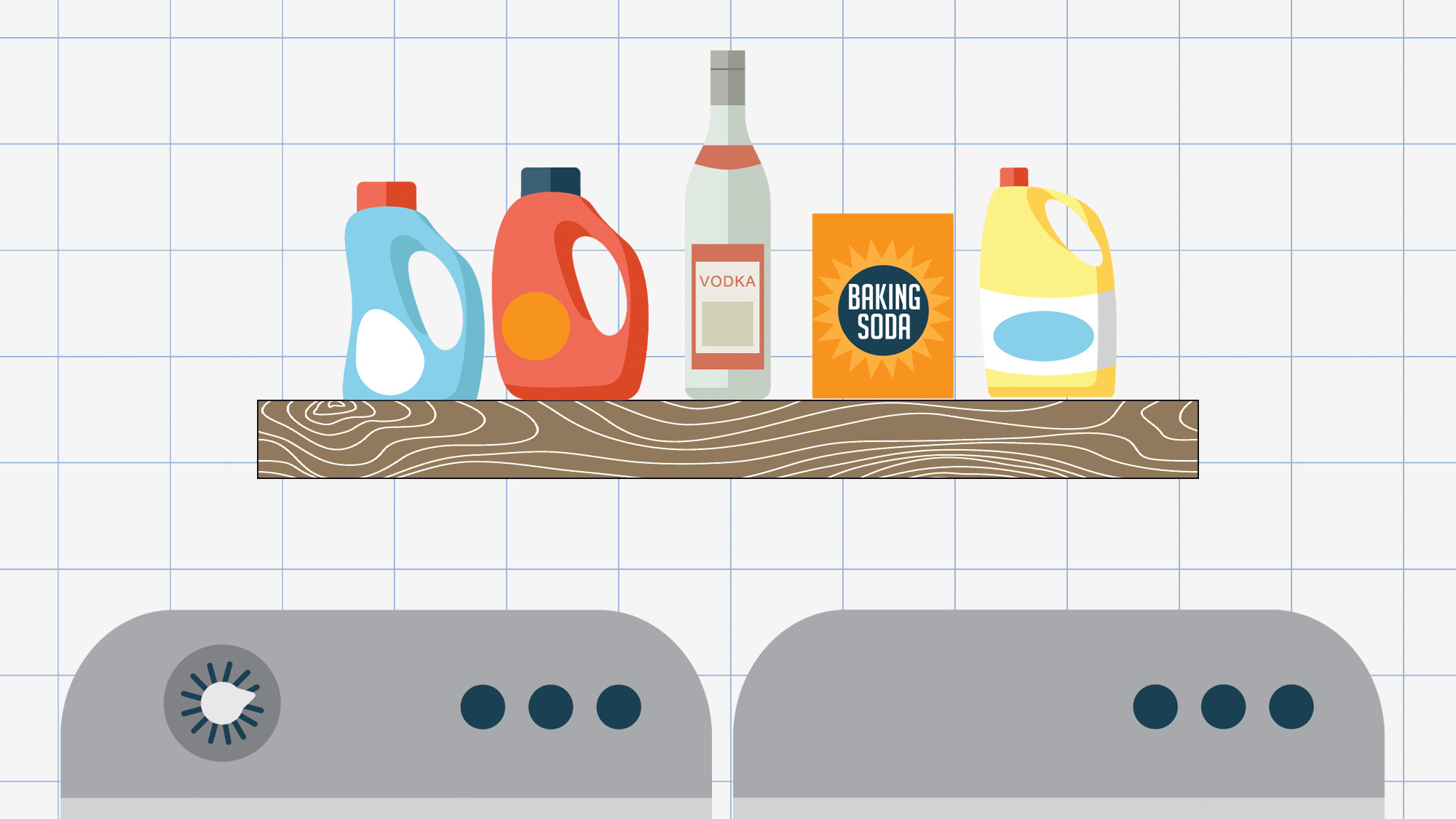 An illustration of a laundry room with a bottle of vodka sitting on the shelf with the detergents