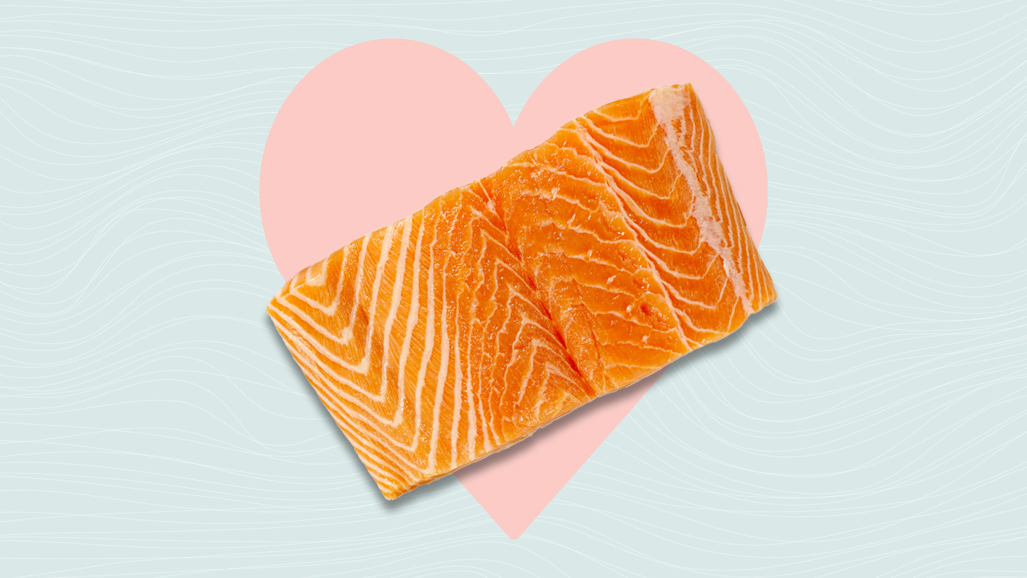 A piece of fresh salmon on a designed background