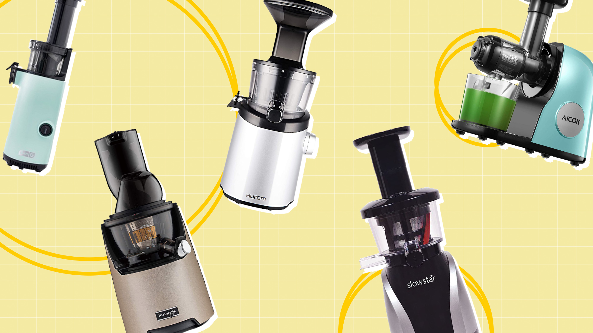 A selection of 5 juicers on a designed background