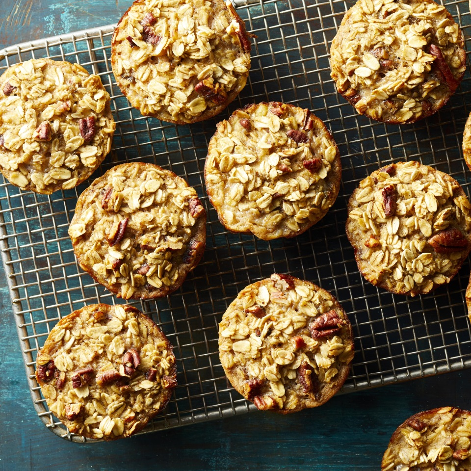 a wire rack with Baked Banana-Nut Oatmeal Cups