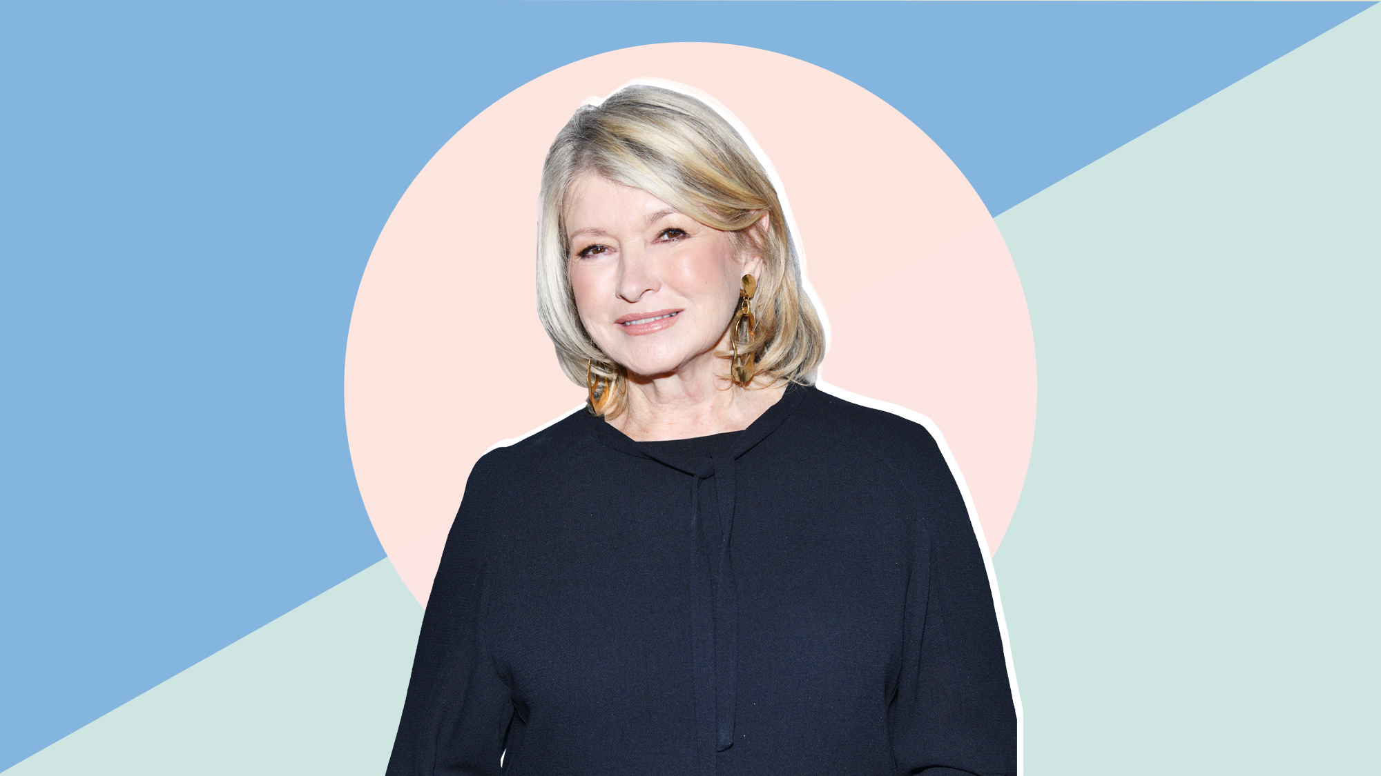 A portrait of Martha Stewart on a designed background