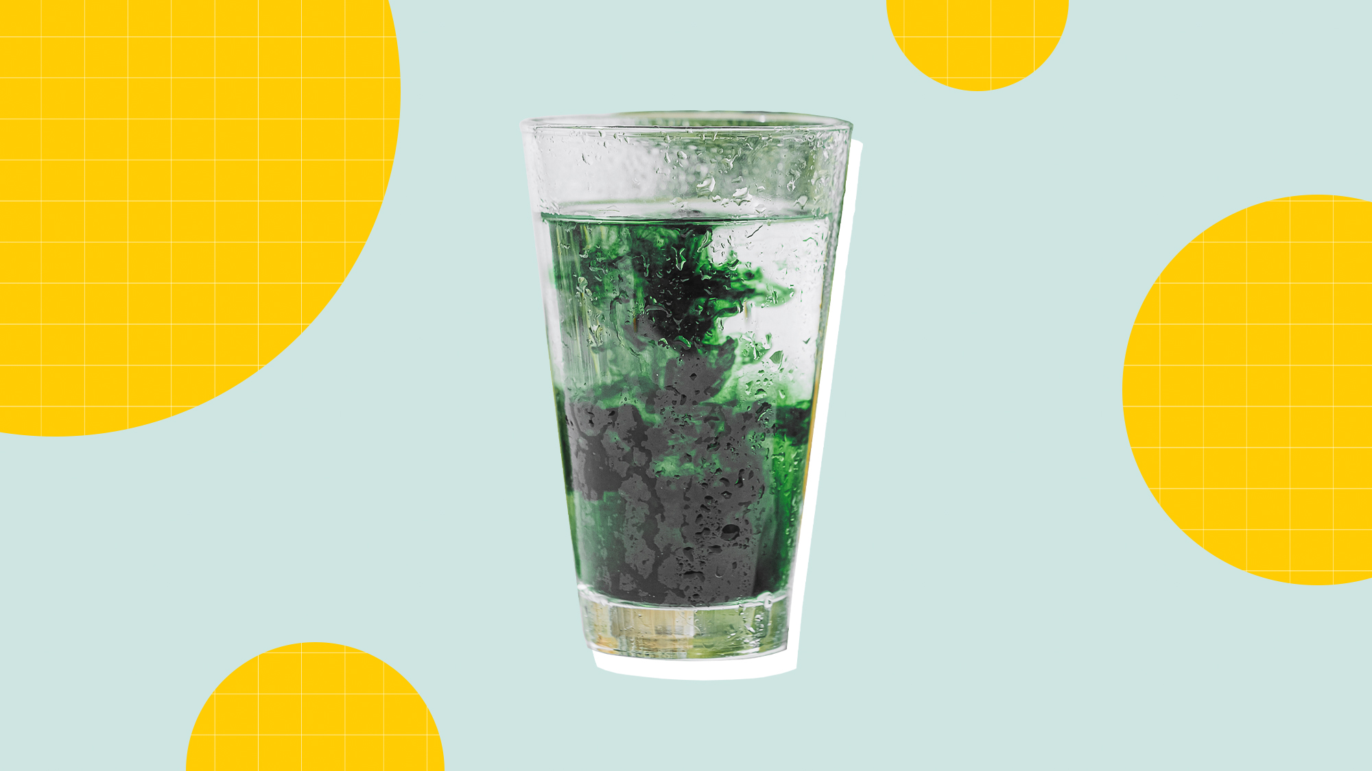 A cup of Chlorophyll on a designed background