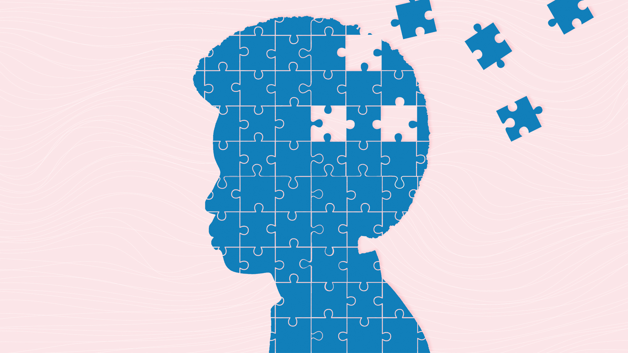 A puzzle of a silhouette of a woman with puzzle pieces floating away on a designed background