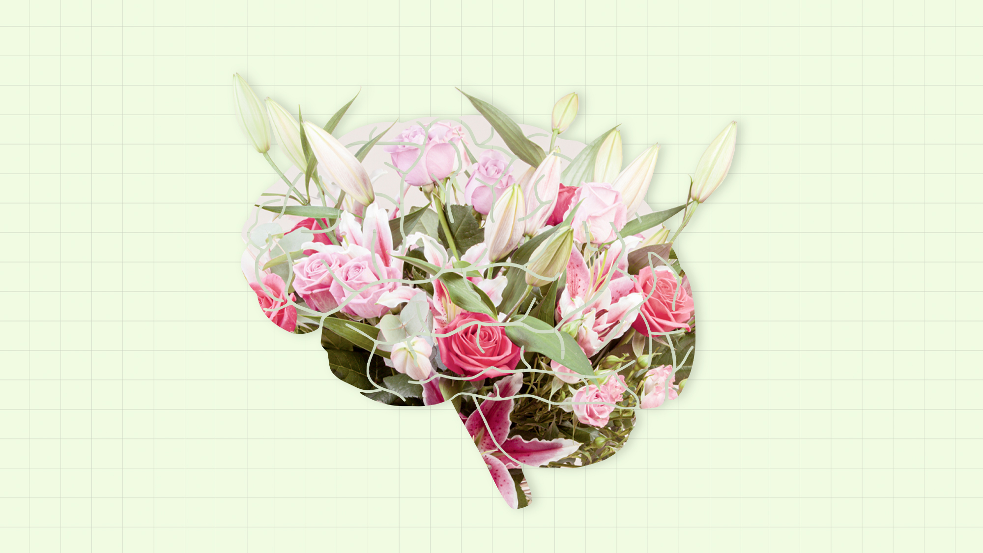 a bouquet in the shape of a brain on a designed background