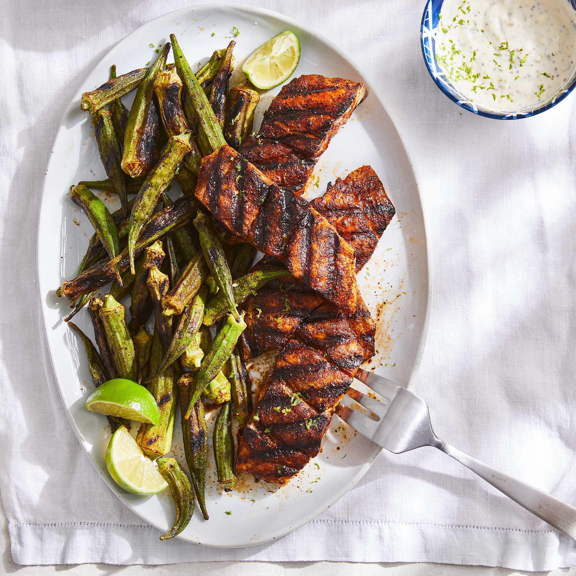 Grilled Snapper & Okra with Spicy Tartar Sauce