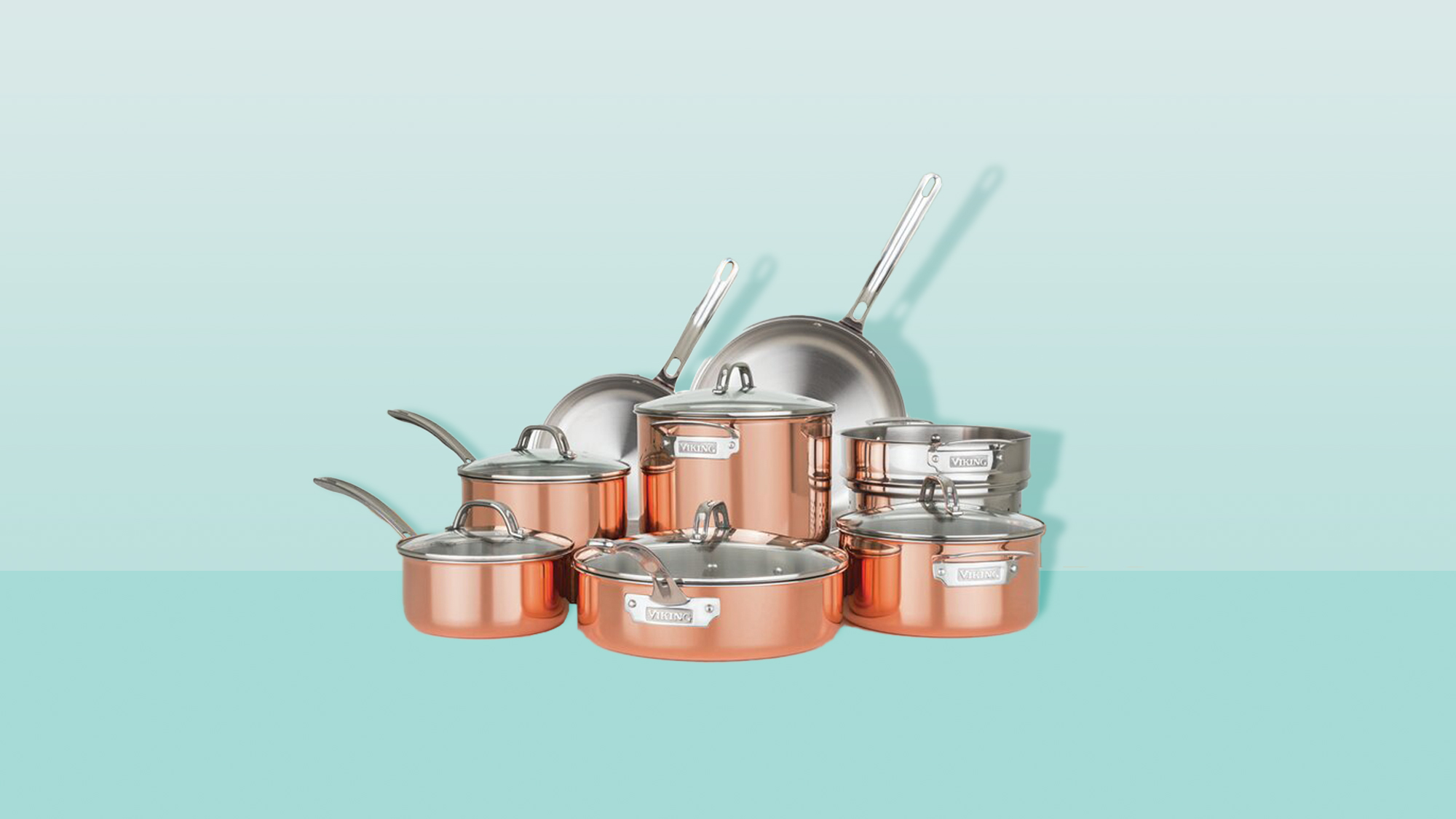 Viking 3-ply Copper Clad 13pc Cookware Set W/ Vented Glass Lids