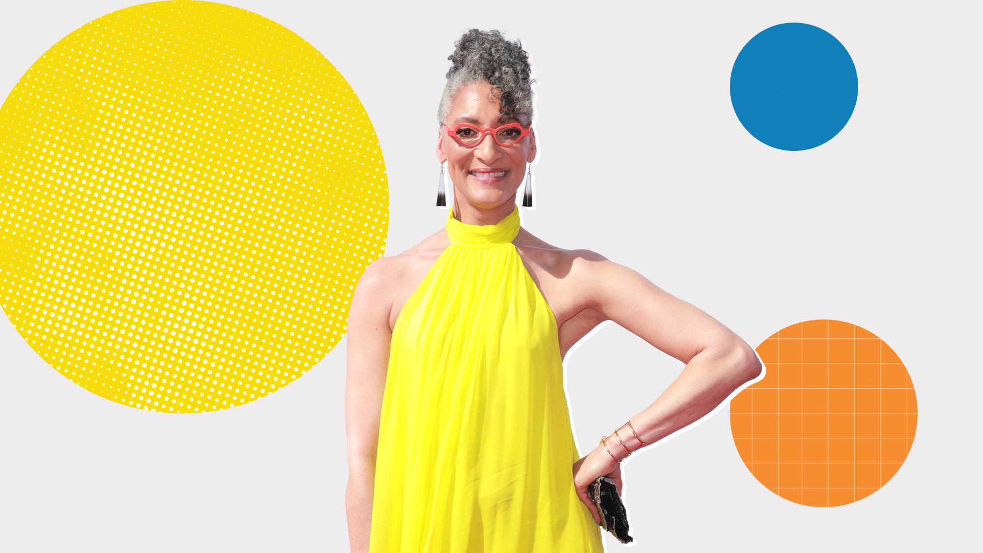 Portrait of Carla Hall on a designed background