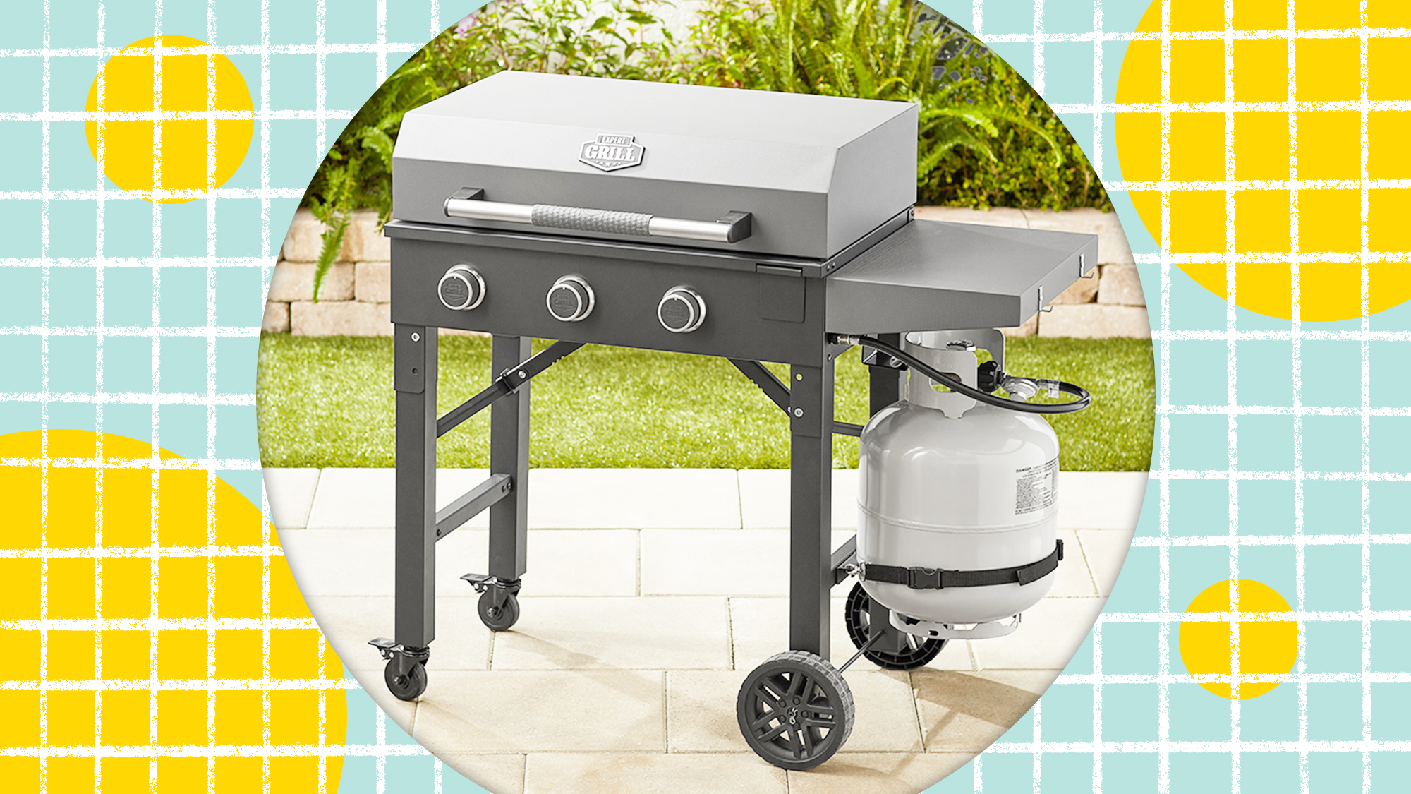 Expert Grill Pioneer 28-Inch Portable Propane Gas Griddle on a designed background