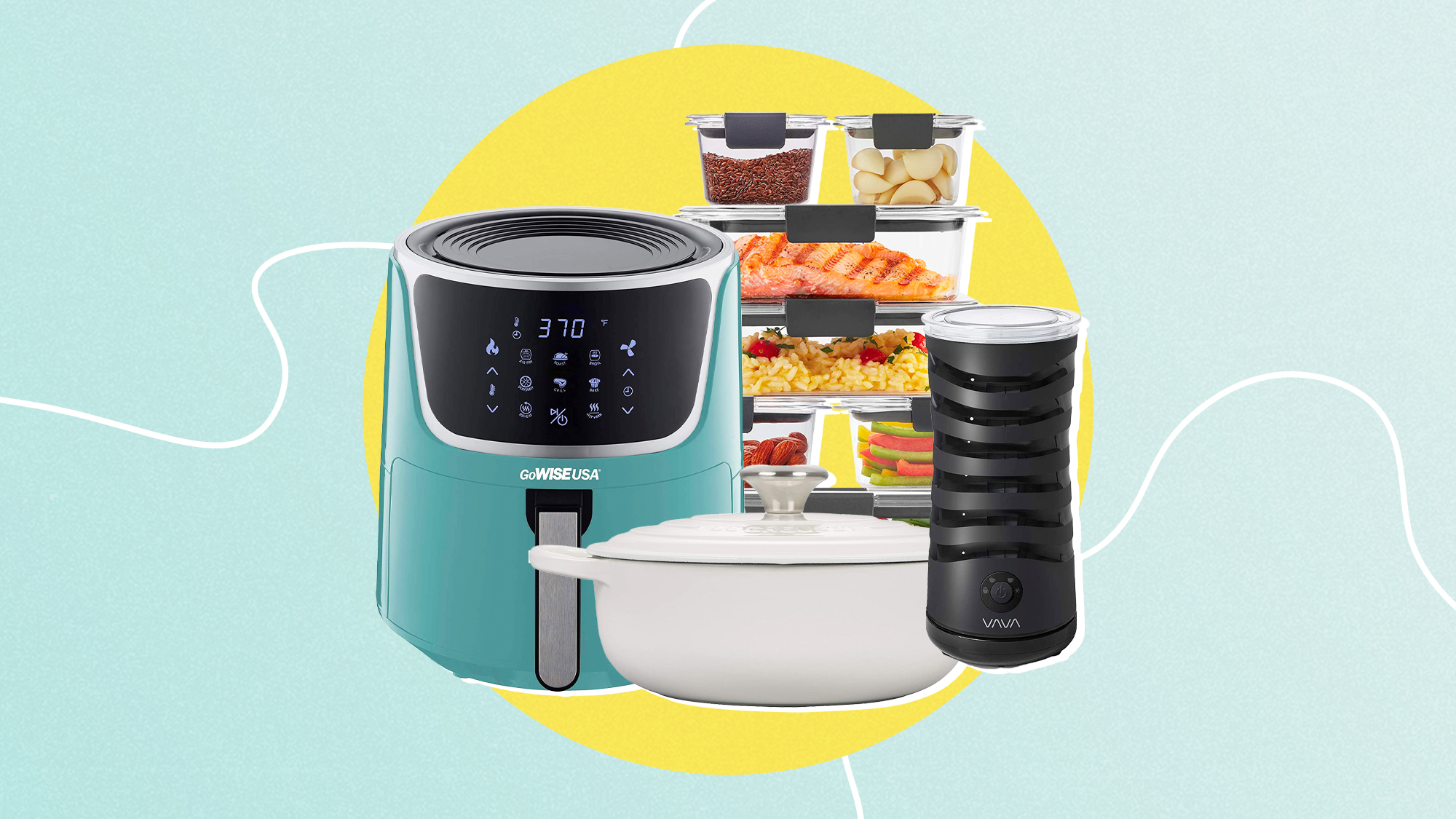 A selection of 4 home items from Amazon on a designed background