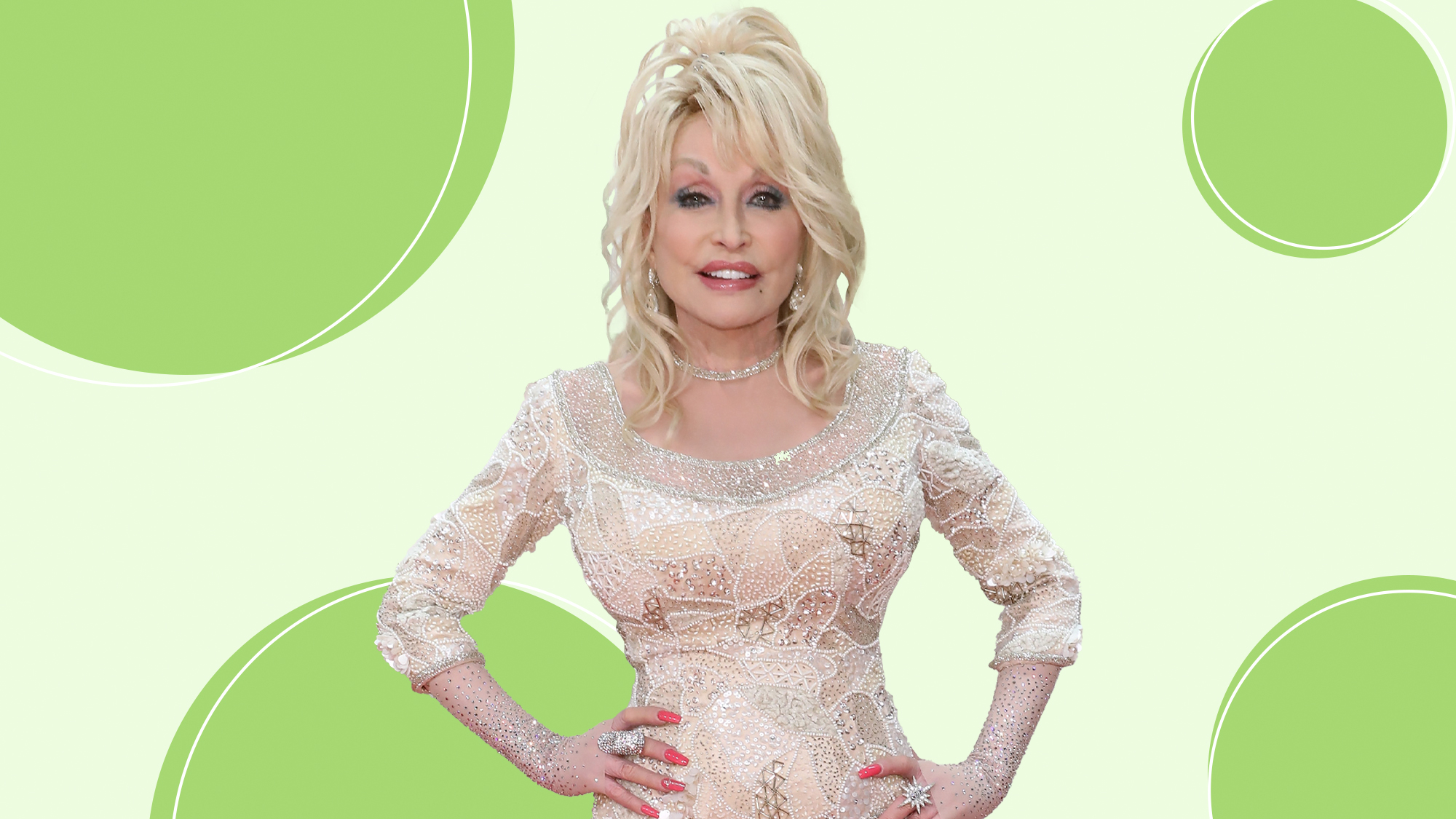 Dolly Parton on a designed background