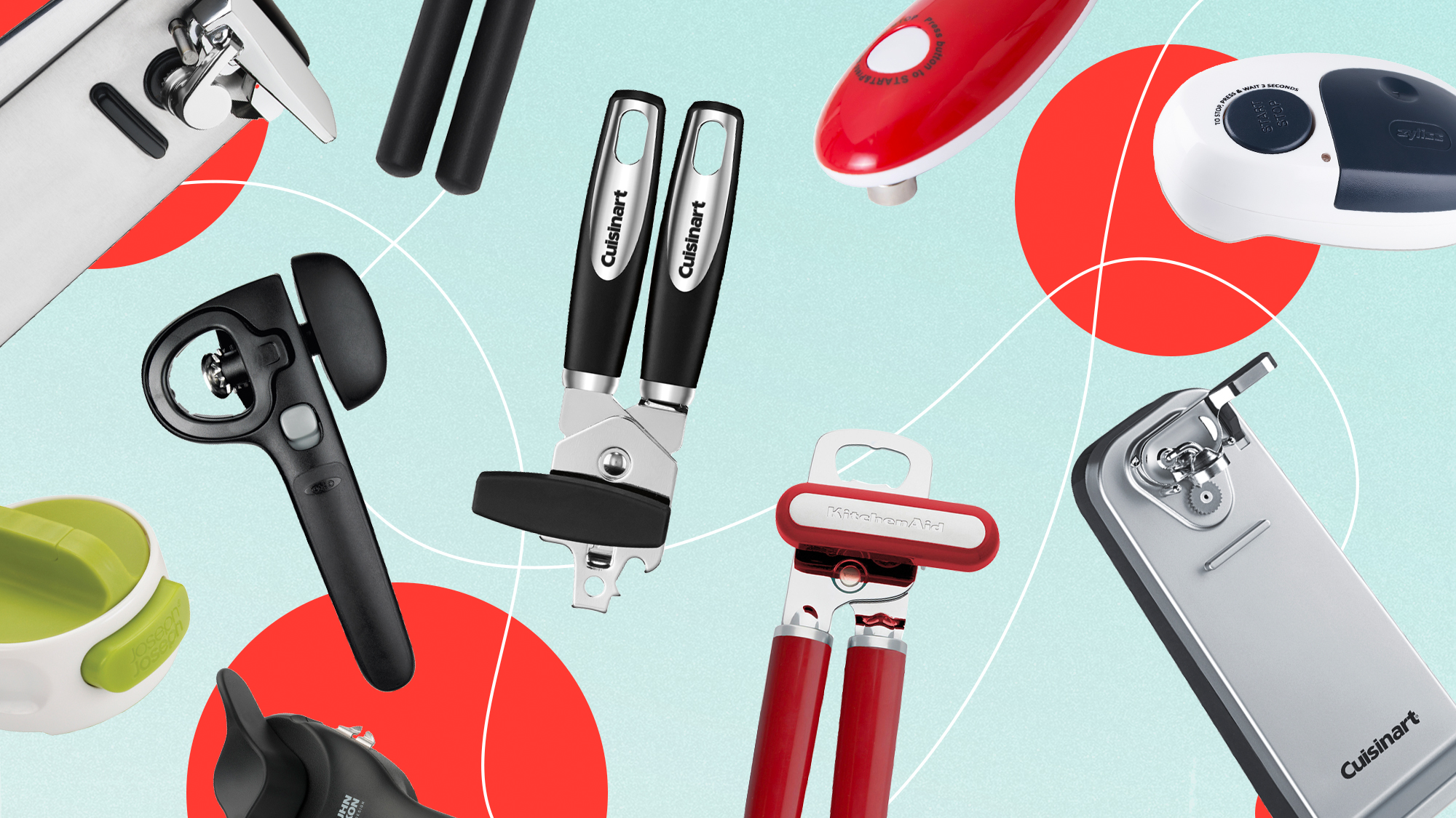An assortment of can openers on a designed background