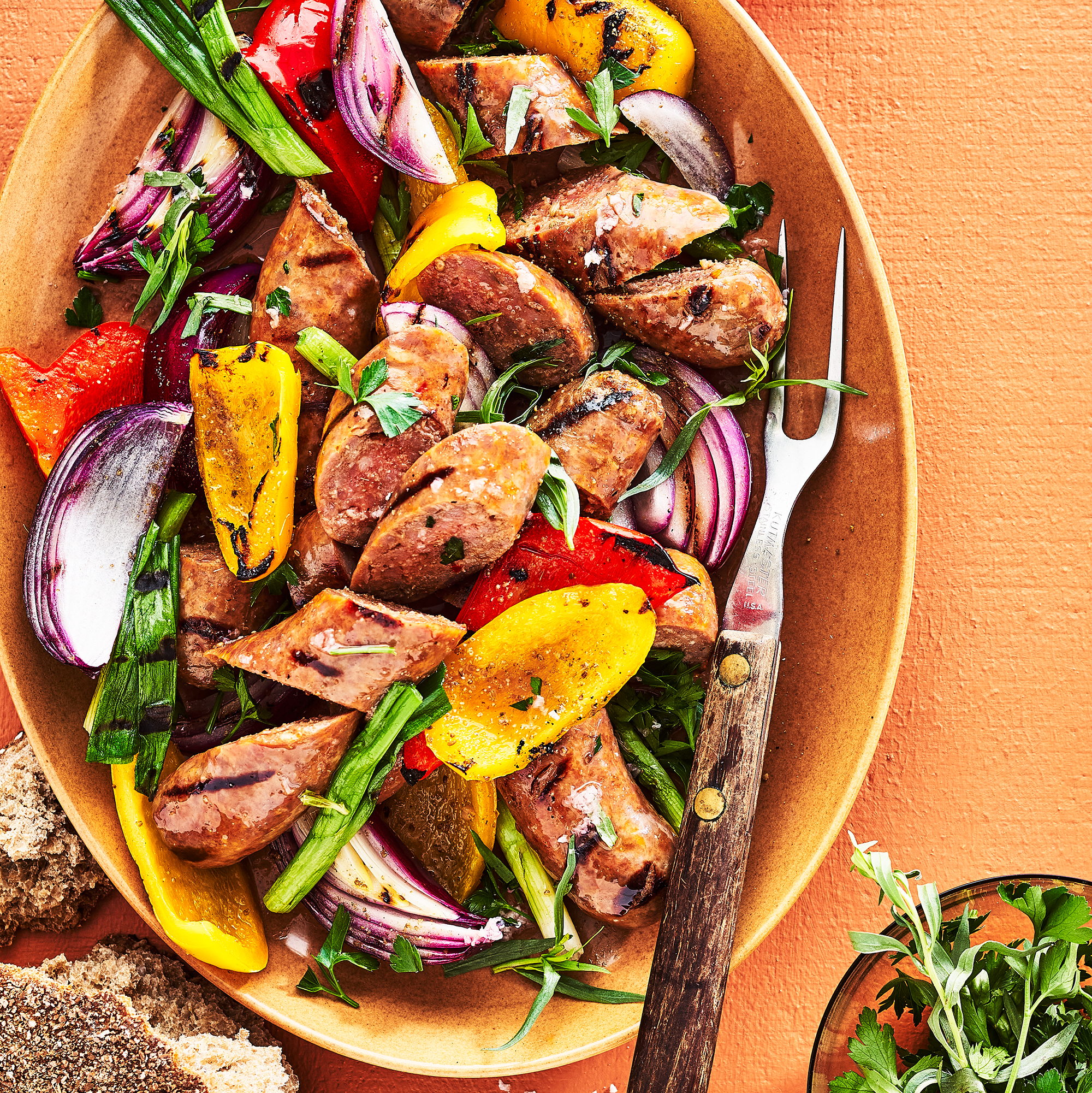 Grilled Sausage, Peppers & Onions with Herb Vinaigrette