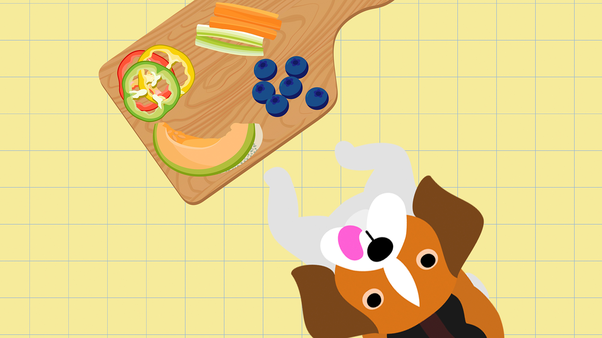 An illustration of a dog with a charcuterie board