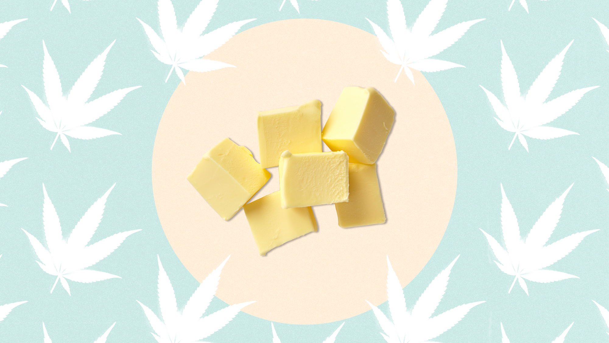 Slices of butter on a designed background of cannabis leaves