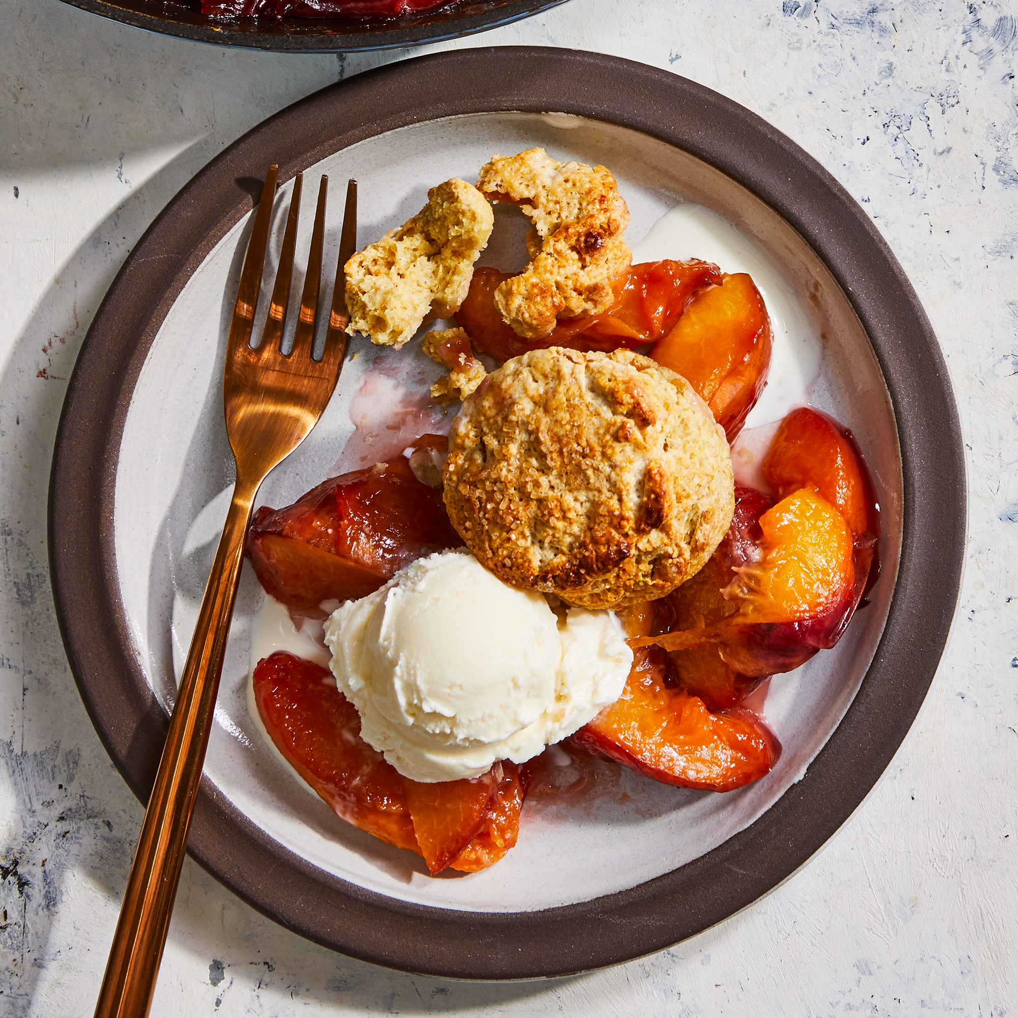 Peach Cobbler with Ginger Biscuits
