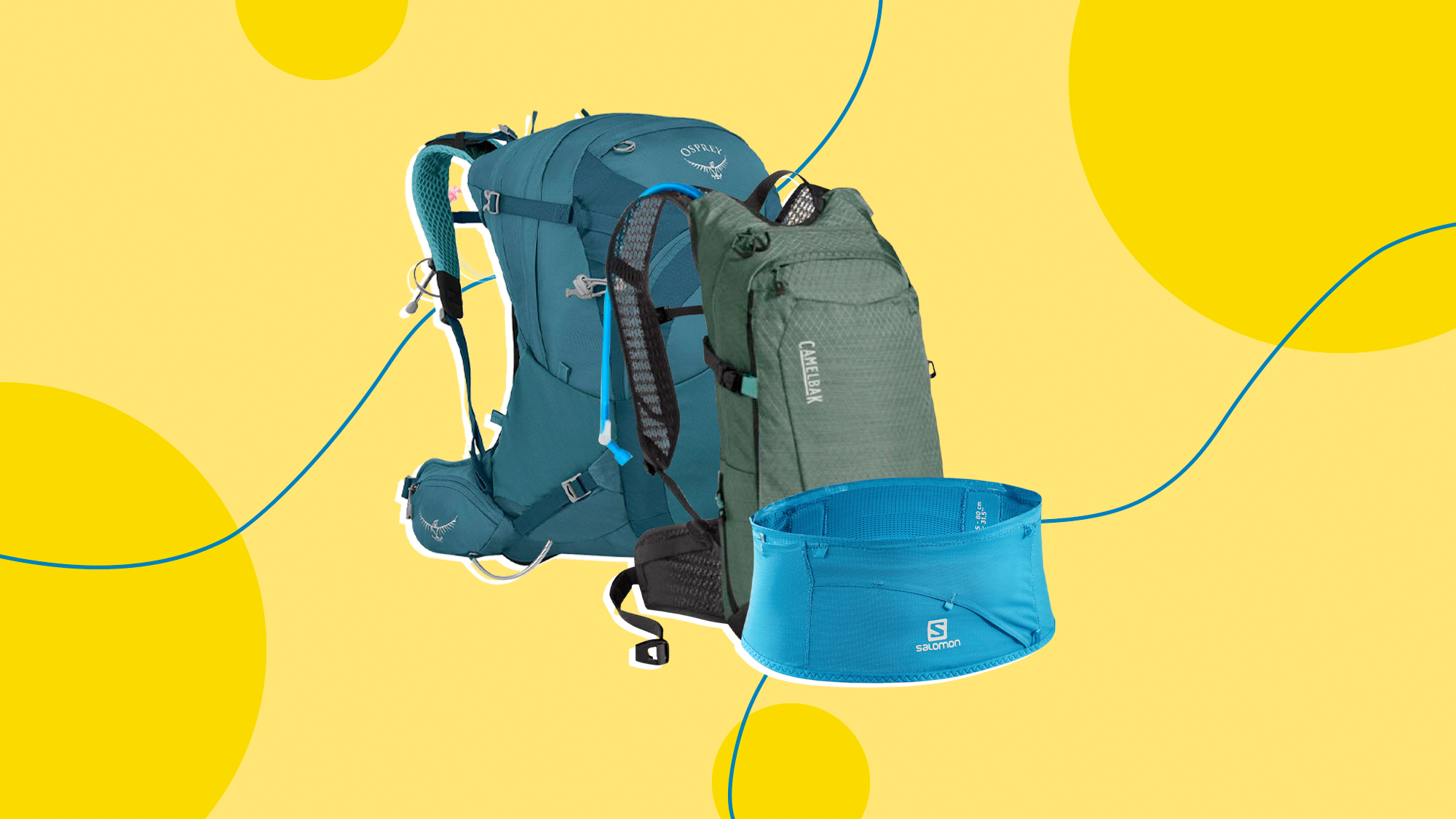 3 Hydration Packs for outdoor exercise on a designed background