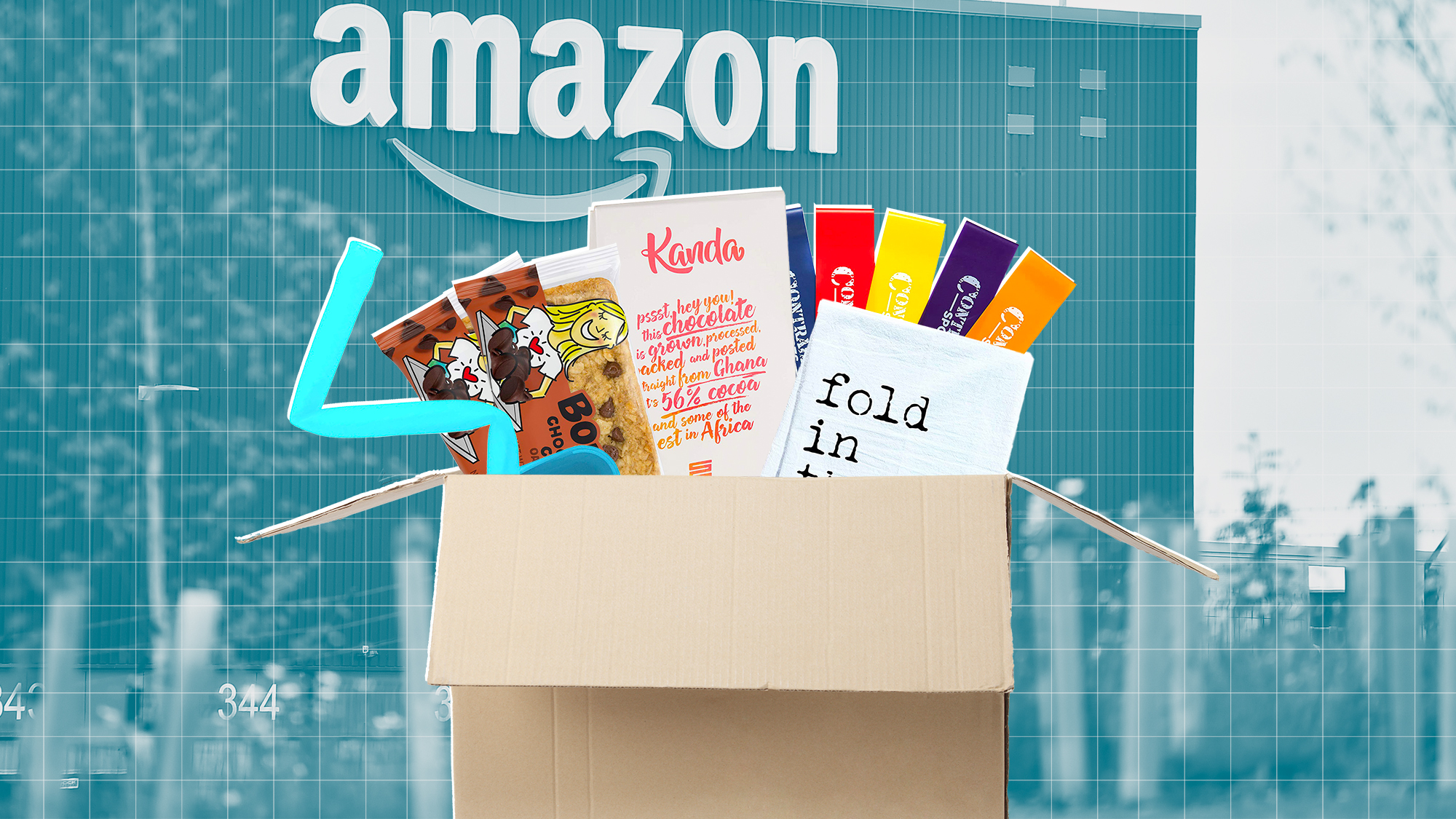 A selection of amazon products in a box on a designed background