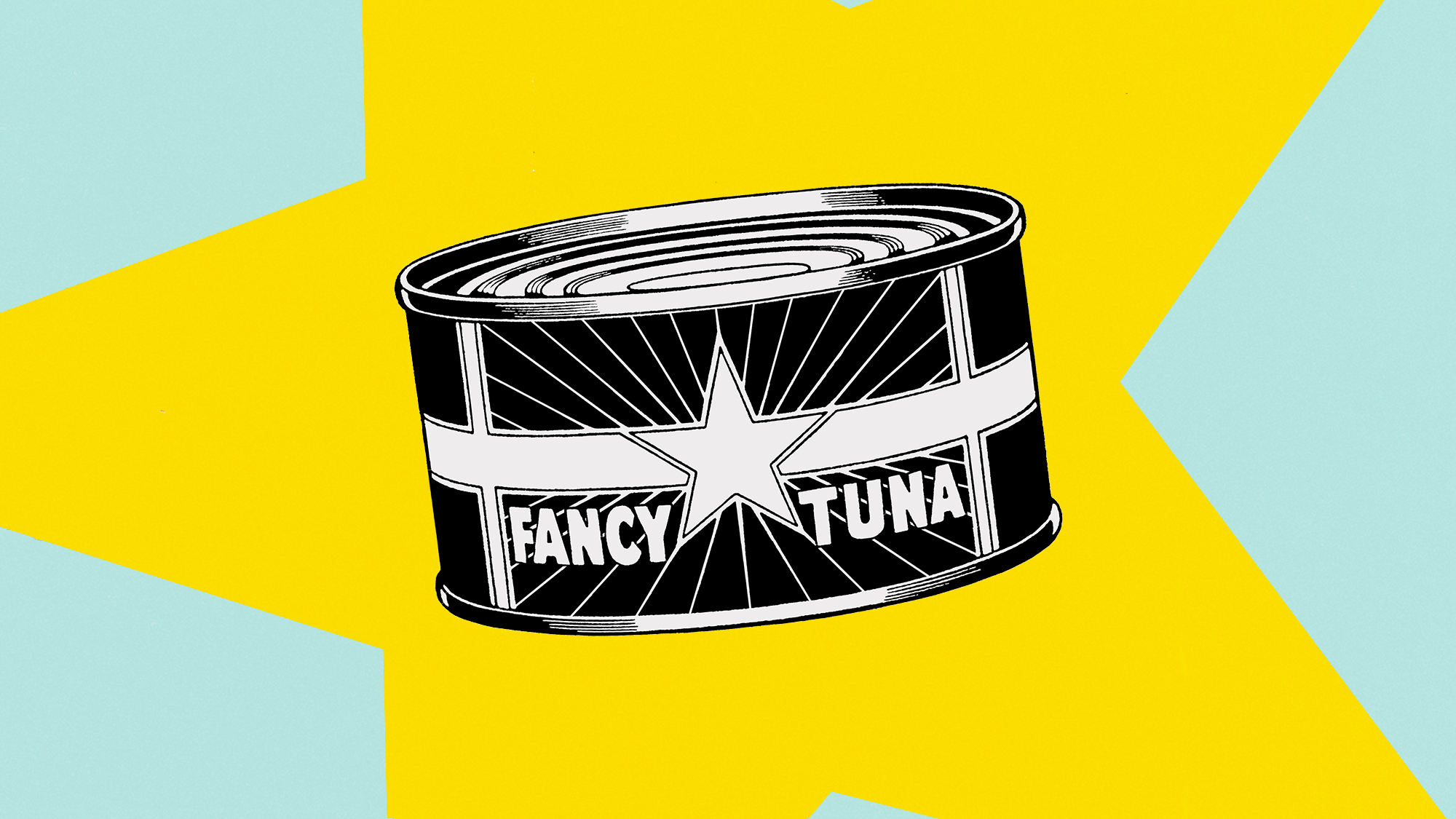 An illustration of a can of tuna on a designed background
