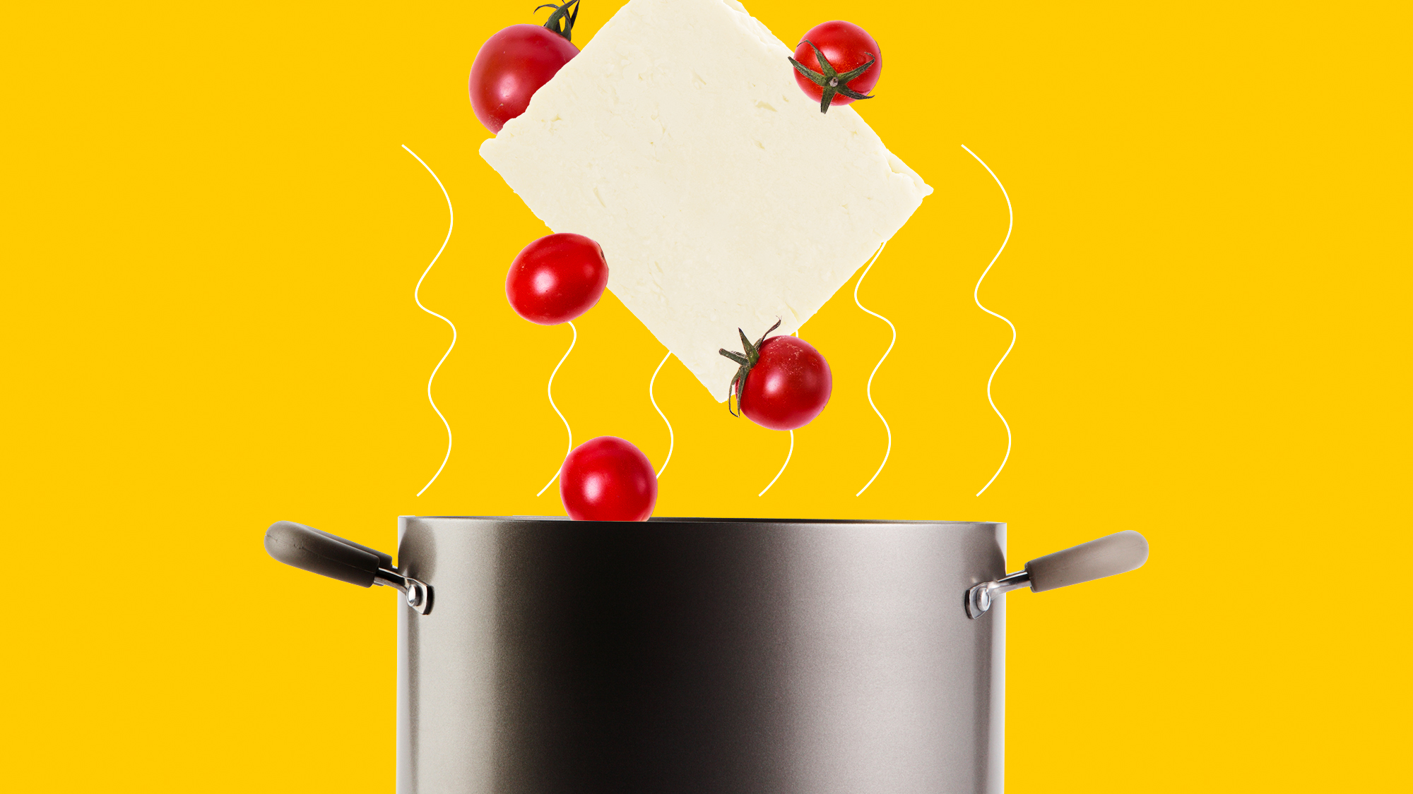 a block of feta cheese and cherry tomatoes falling into a pot on a designed backrgound