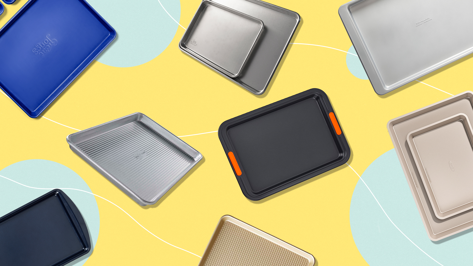 A selection of different sheet pans on a designed background
