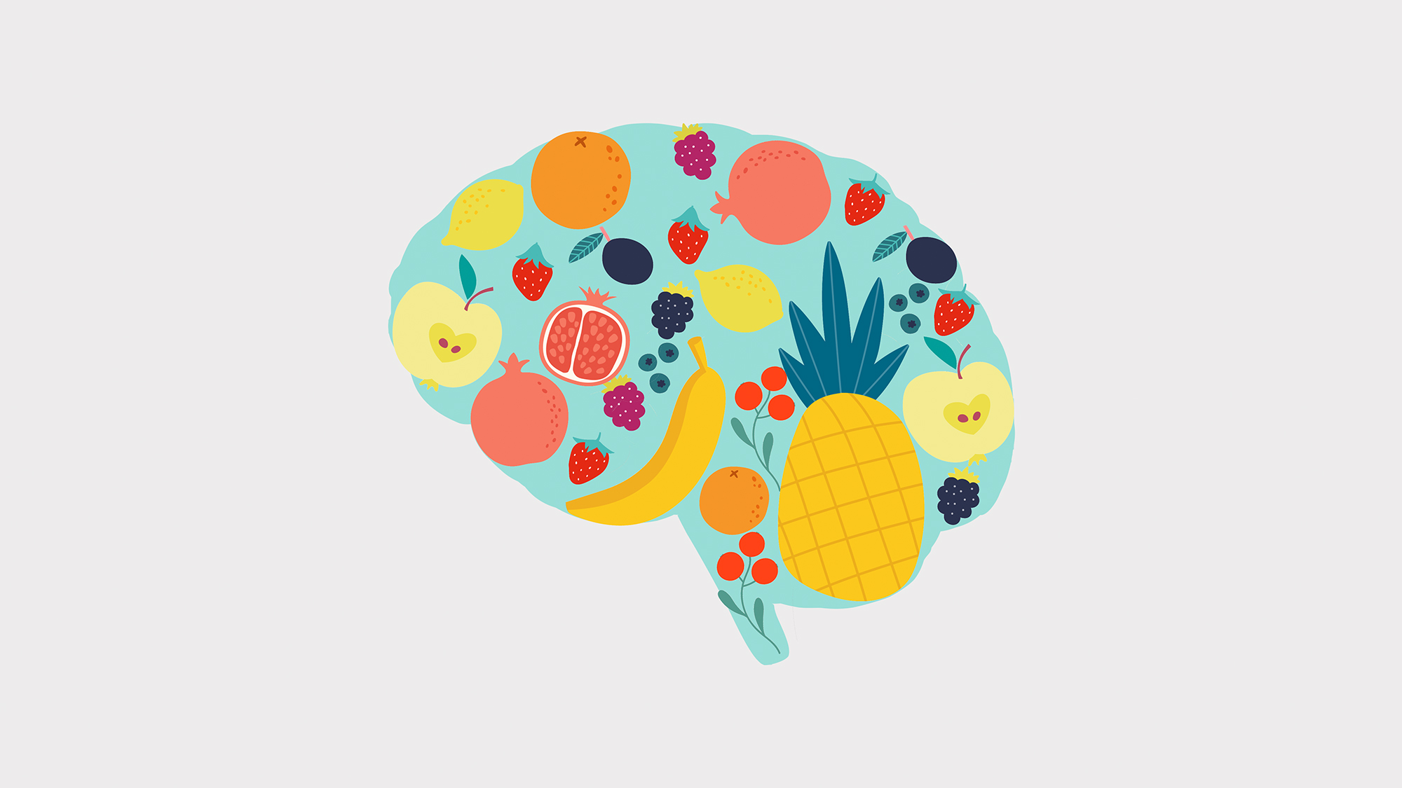 an illustration of a brain shape made out of fruit