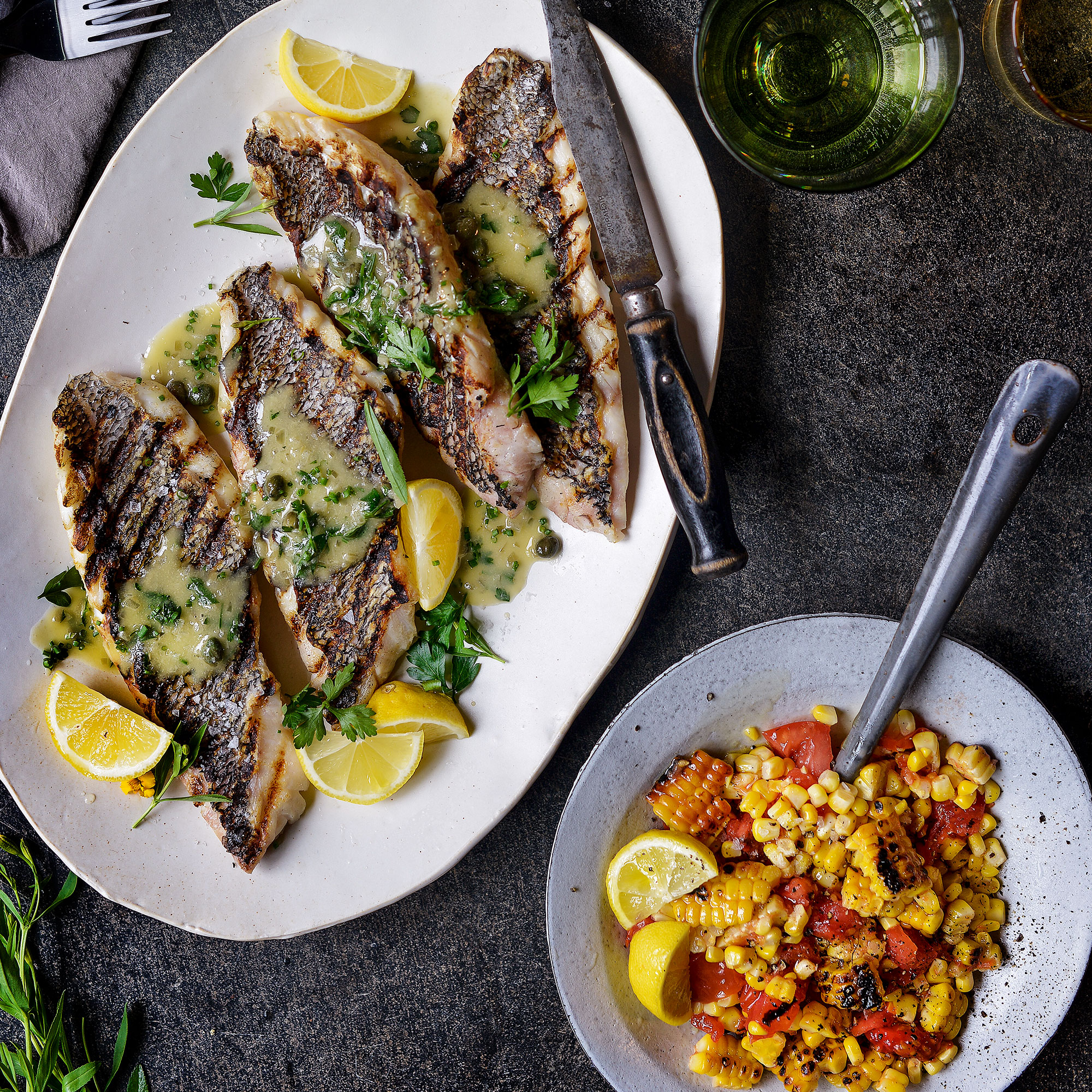 Grilled Sea Bass with Charred Tomato & Corn Salad