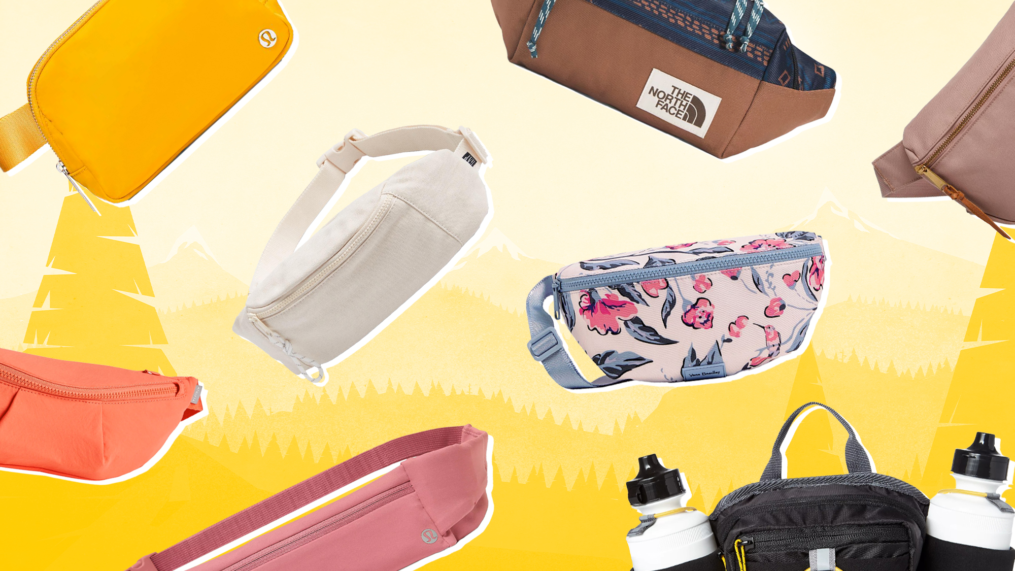 A selection of fanny packs on a designed background