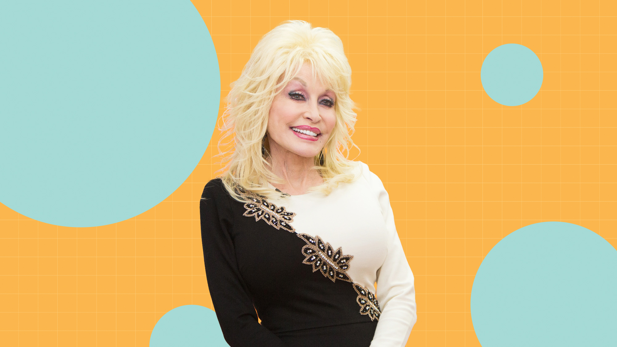 A portrait of Dolly Parton on a designed background