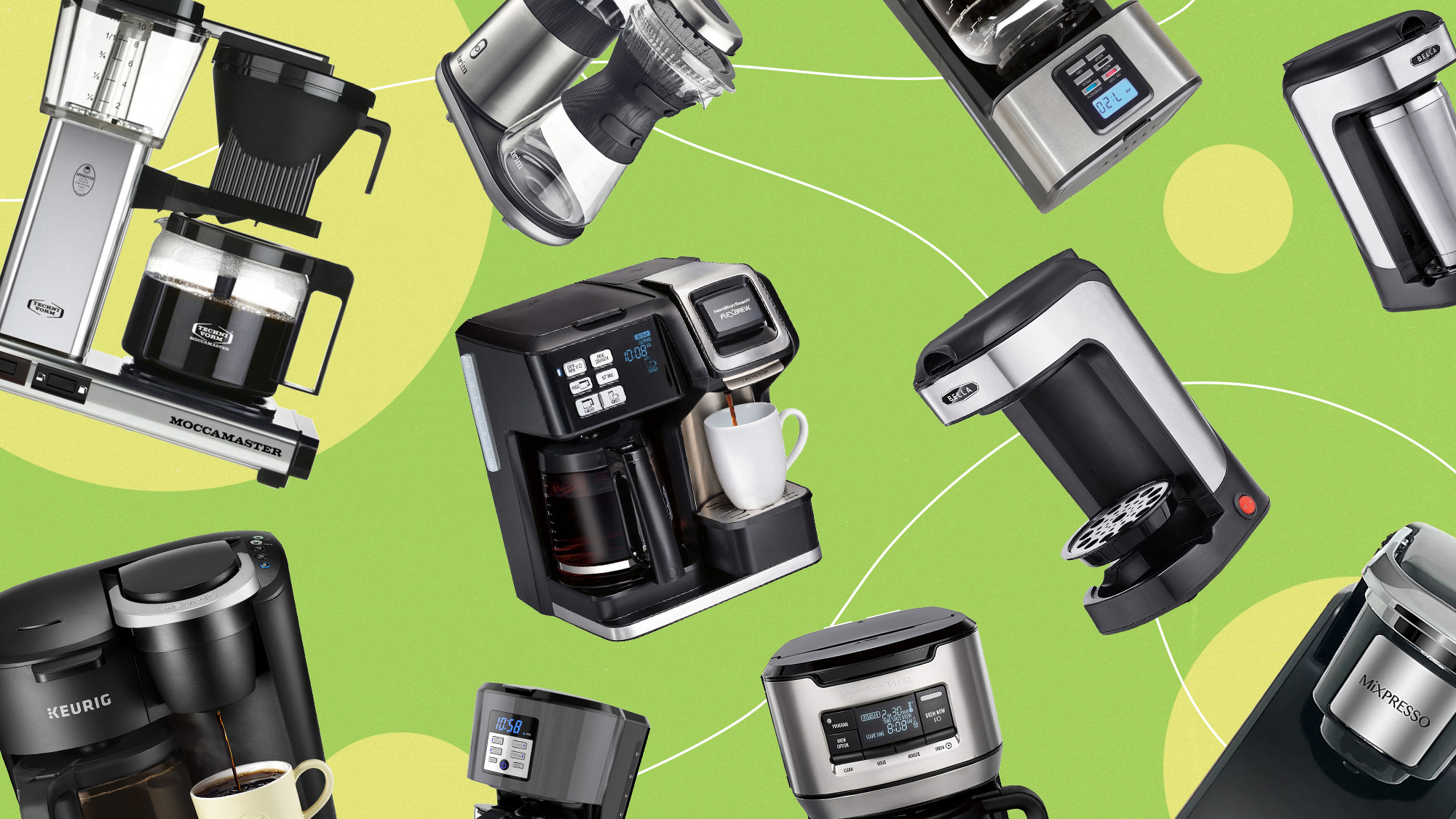 a selection of coffee makers on a designed background