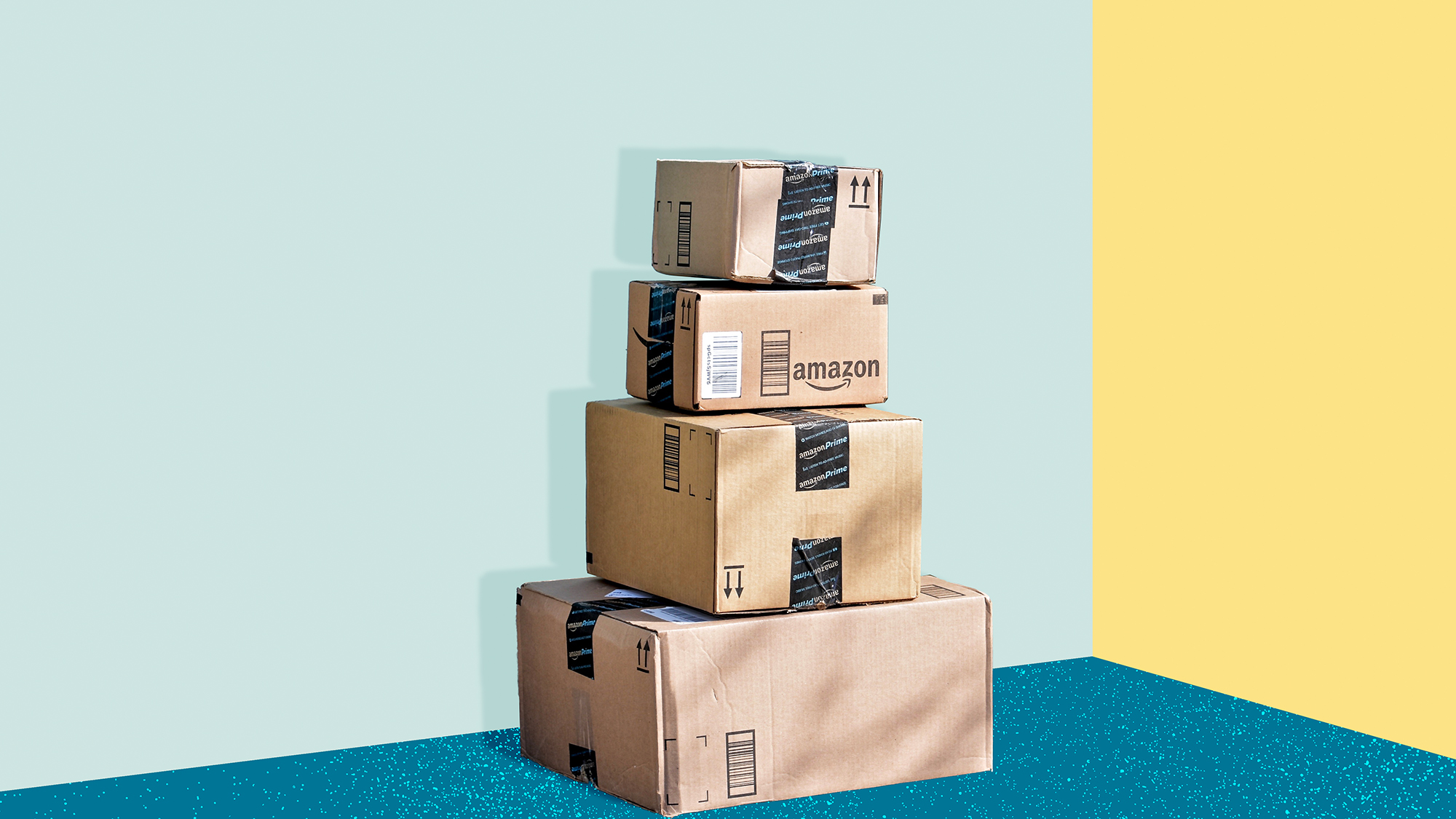 a stack of amazon boxes on a designed background