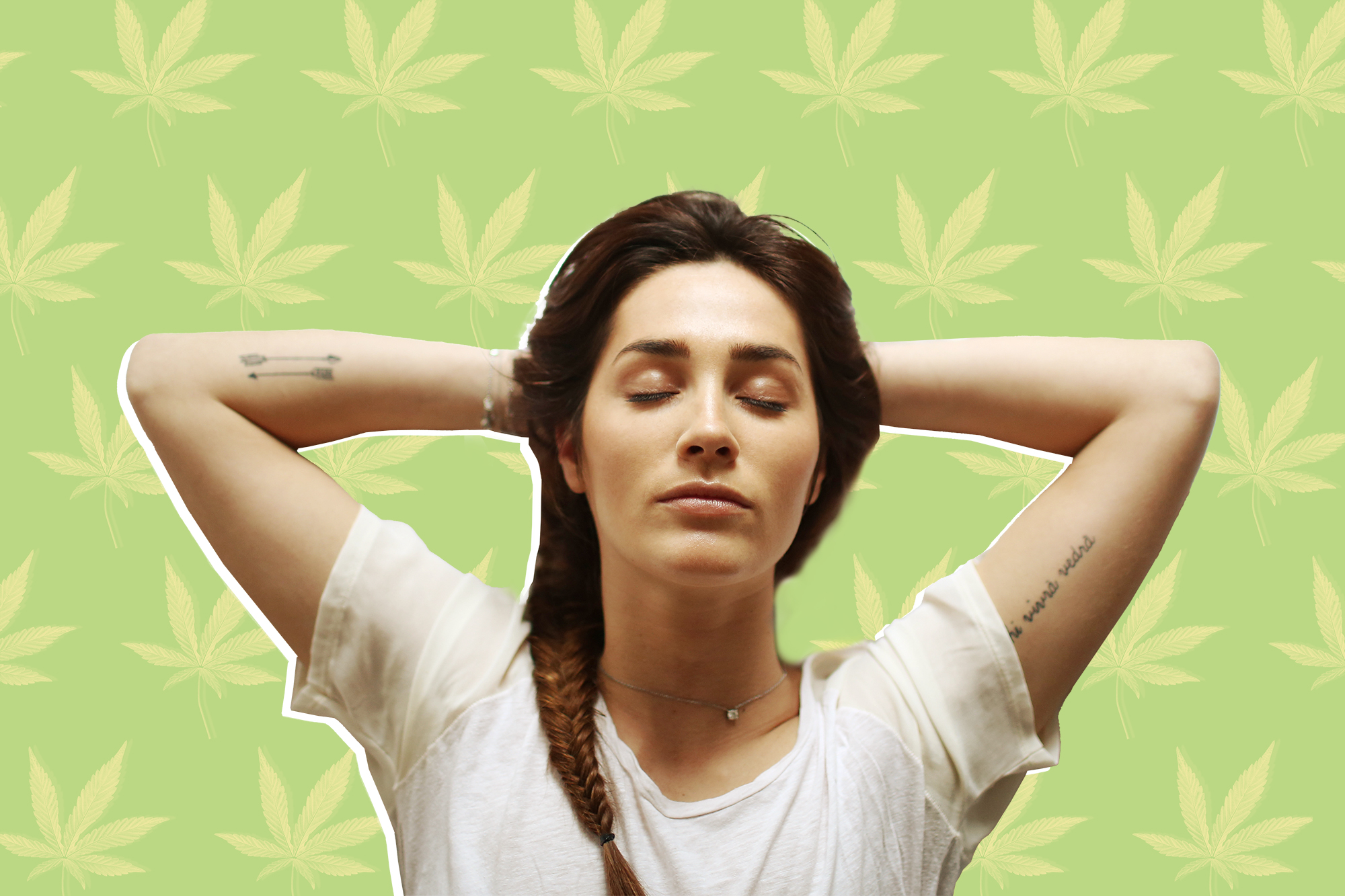 A young woman sleeping with a designed background of cannabis leaves