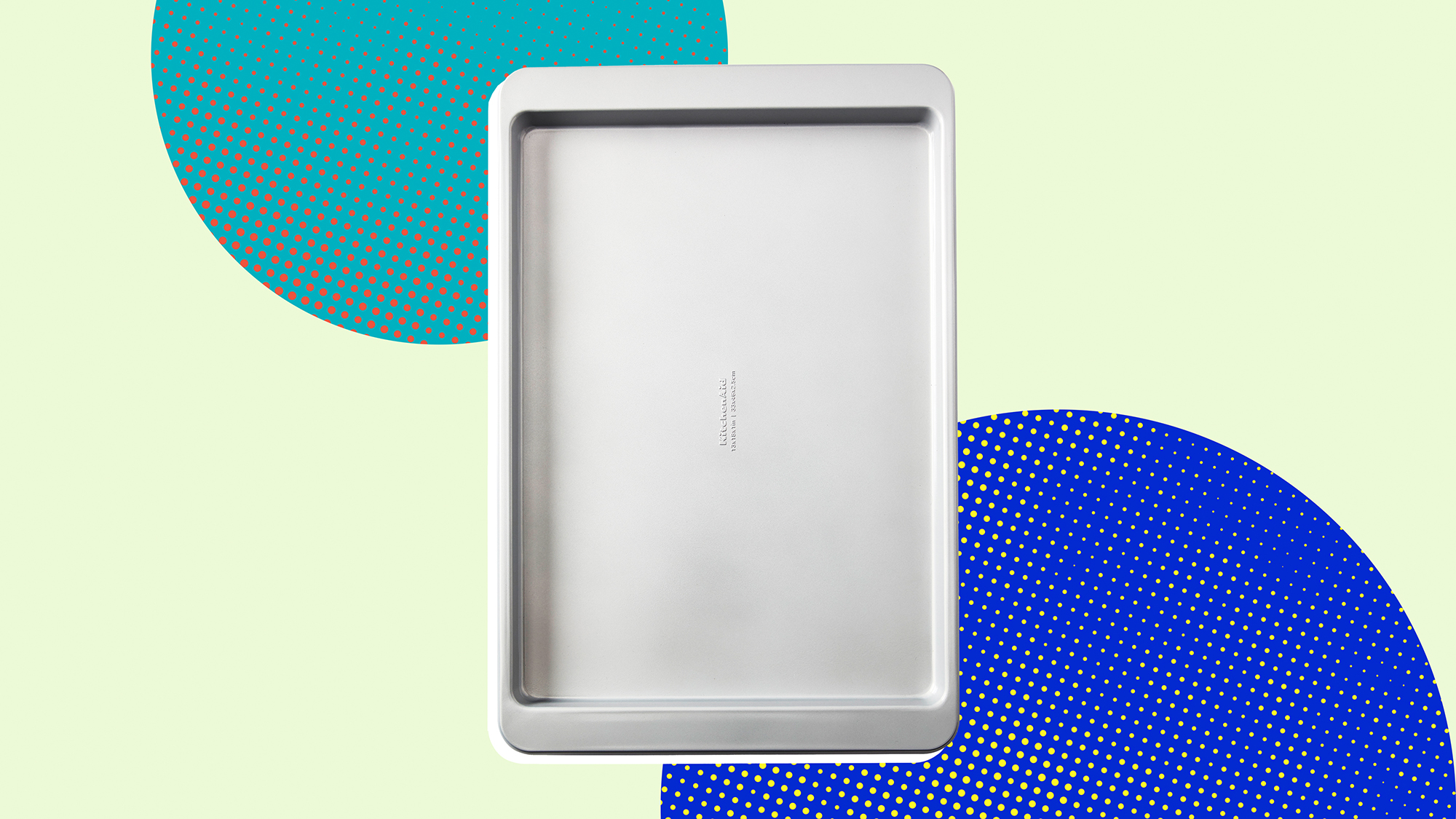 Kitchen-aid sheet pan on a designed background