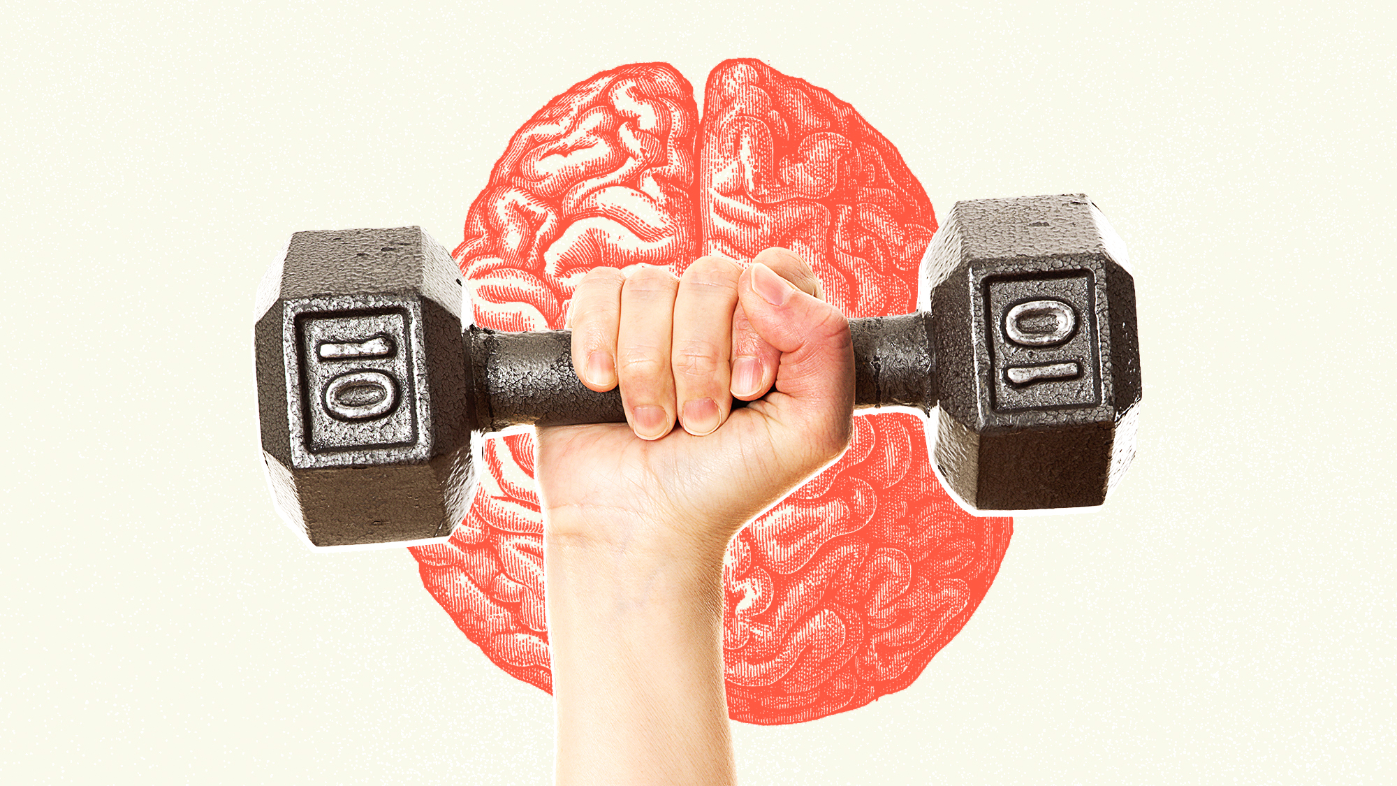 a woman's hand holding a 10lb dumbbell with an illustration of a brain in the background