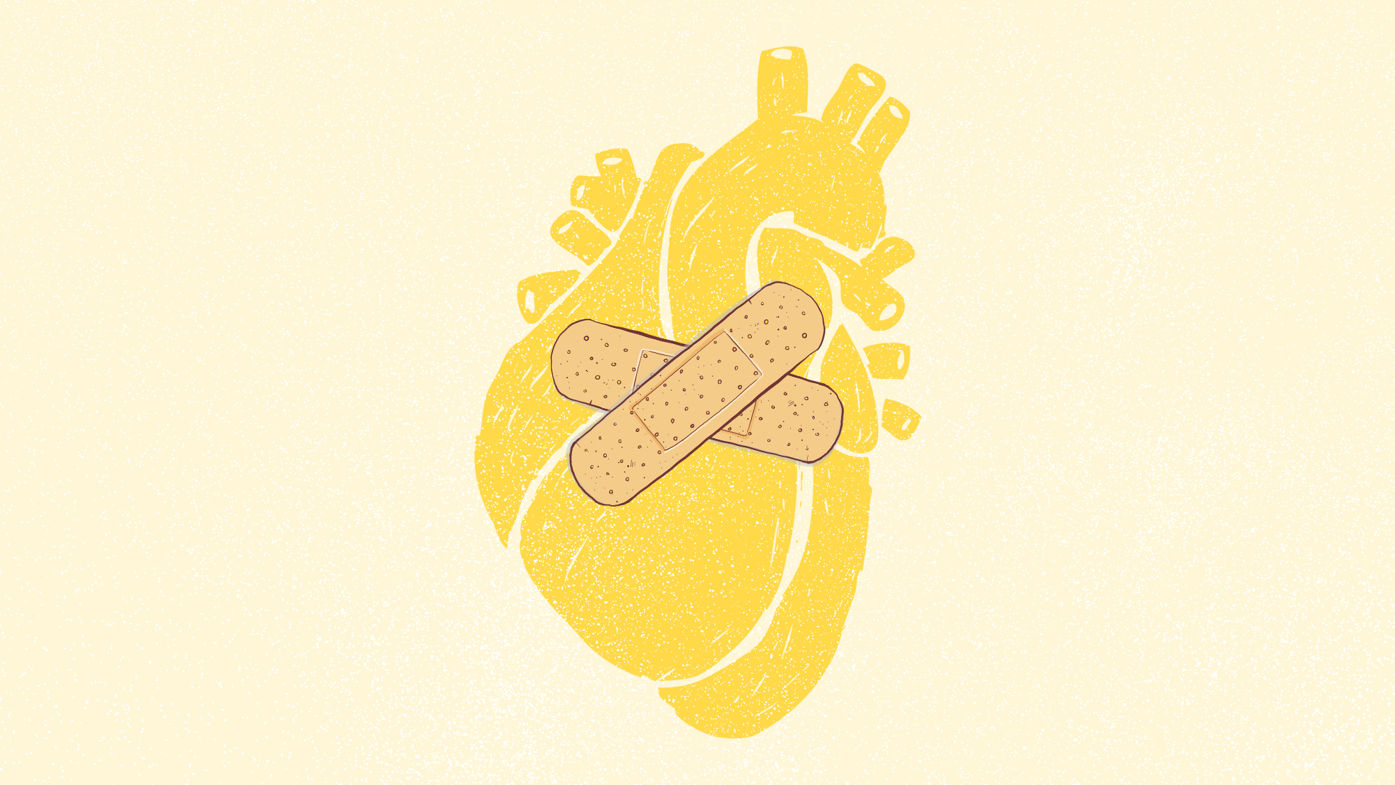 an illustration of a heart with two bandaids on it