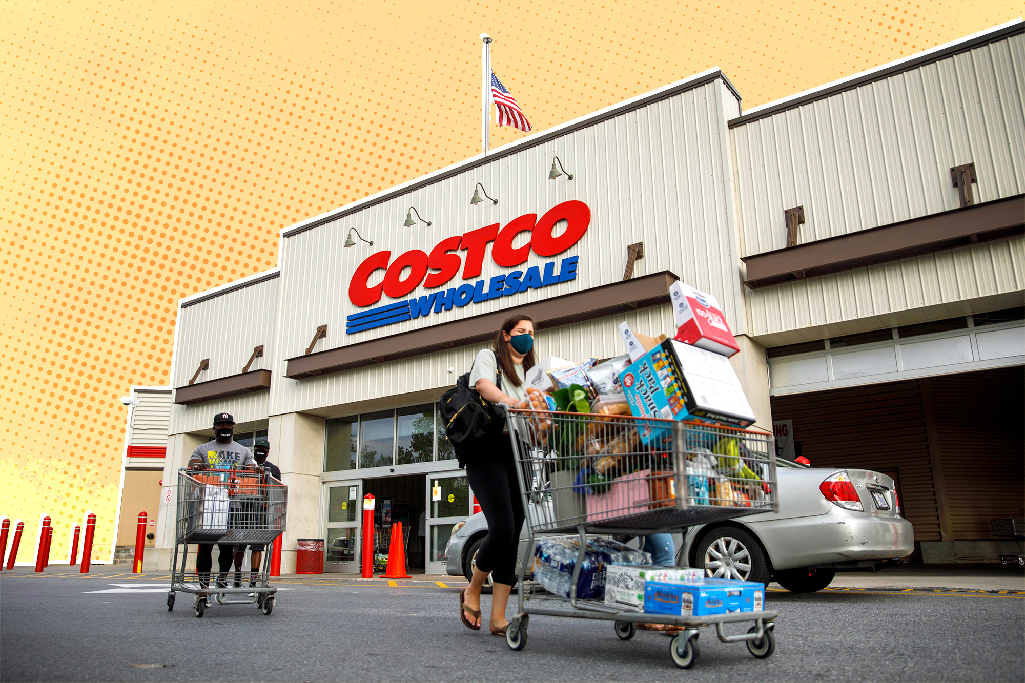 Costco Store front with shoppers with carts outside with a design treatment