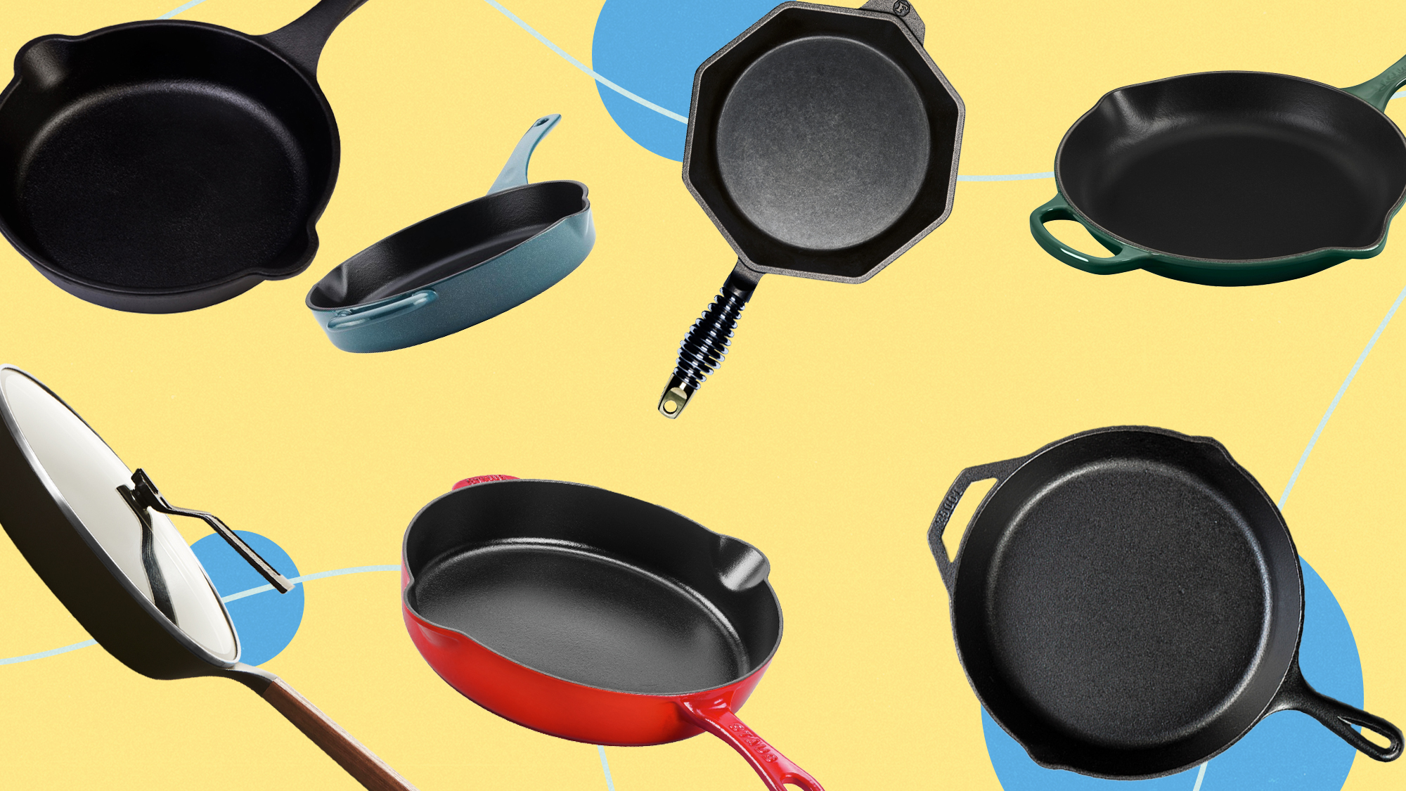 A selection of cast Iron pans on a designed background