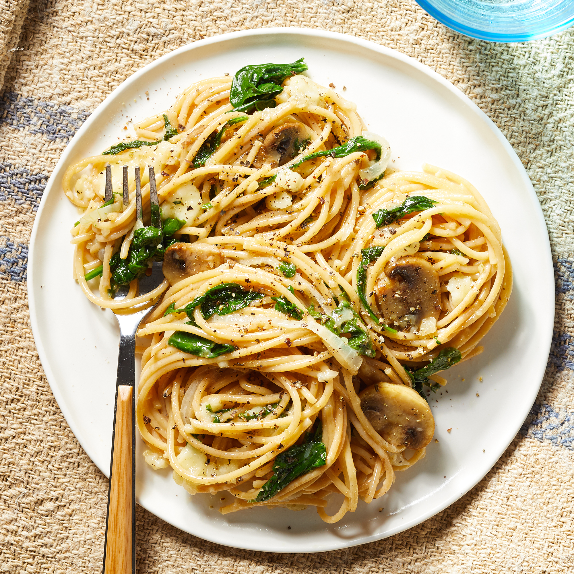 Spaghetti with Baked Brie, Mushrooms & Spinach