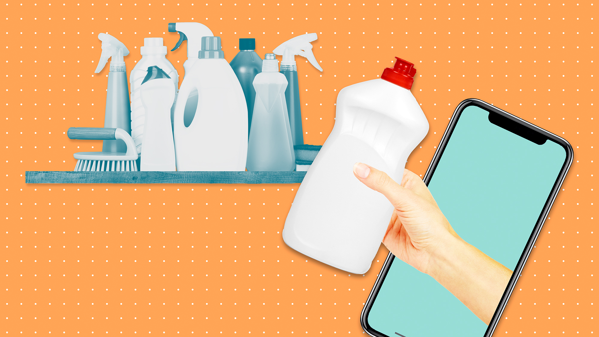 a shelf with cleaning products on a designed background with a hand coming out of a phone returning a bottle of dish soap to the shelf