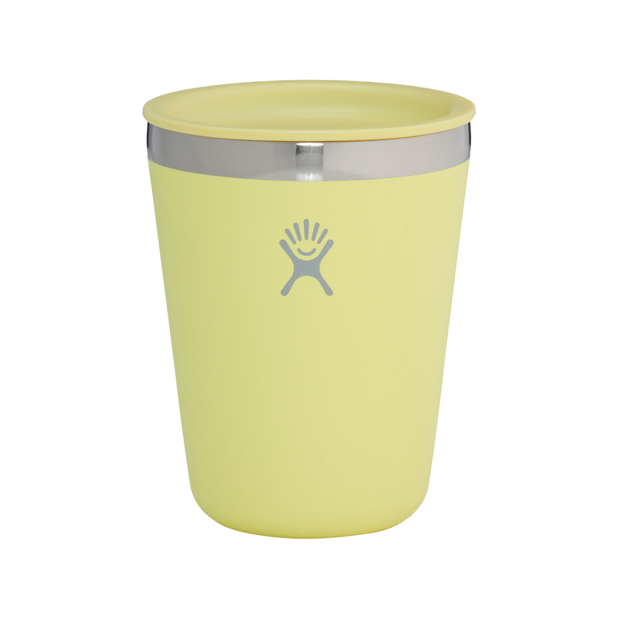 Hydro Flask - side view of yellow insulated tumbler with lid against a white background