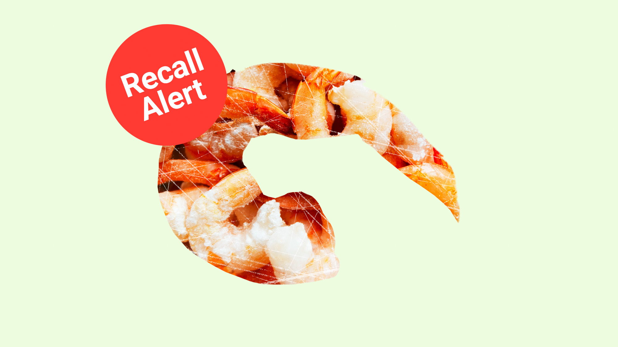 A shape of a shrimp with frozen shrimp inside, overlaid by a recall button