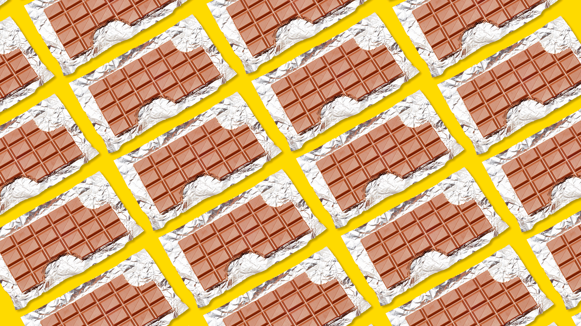 a grid of chocolate bars with the wrappers on a yellow background
