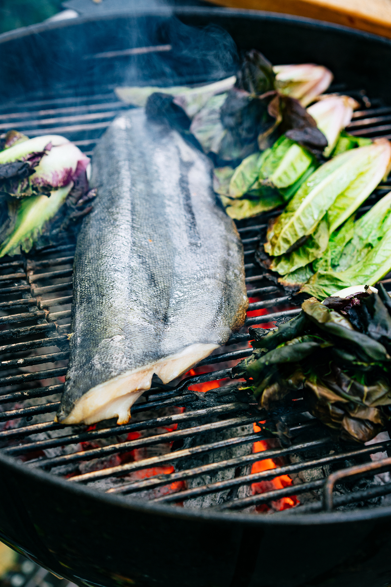 Fish and vegetables on a charcoal grill